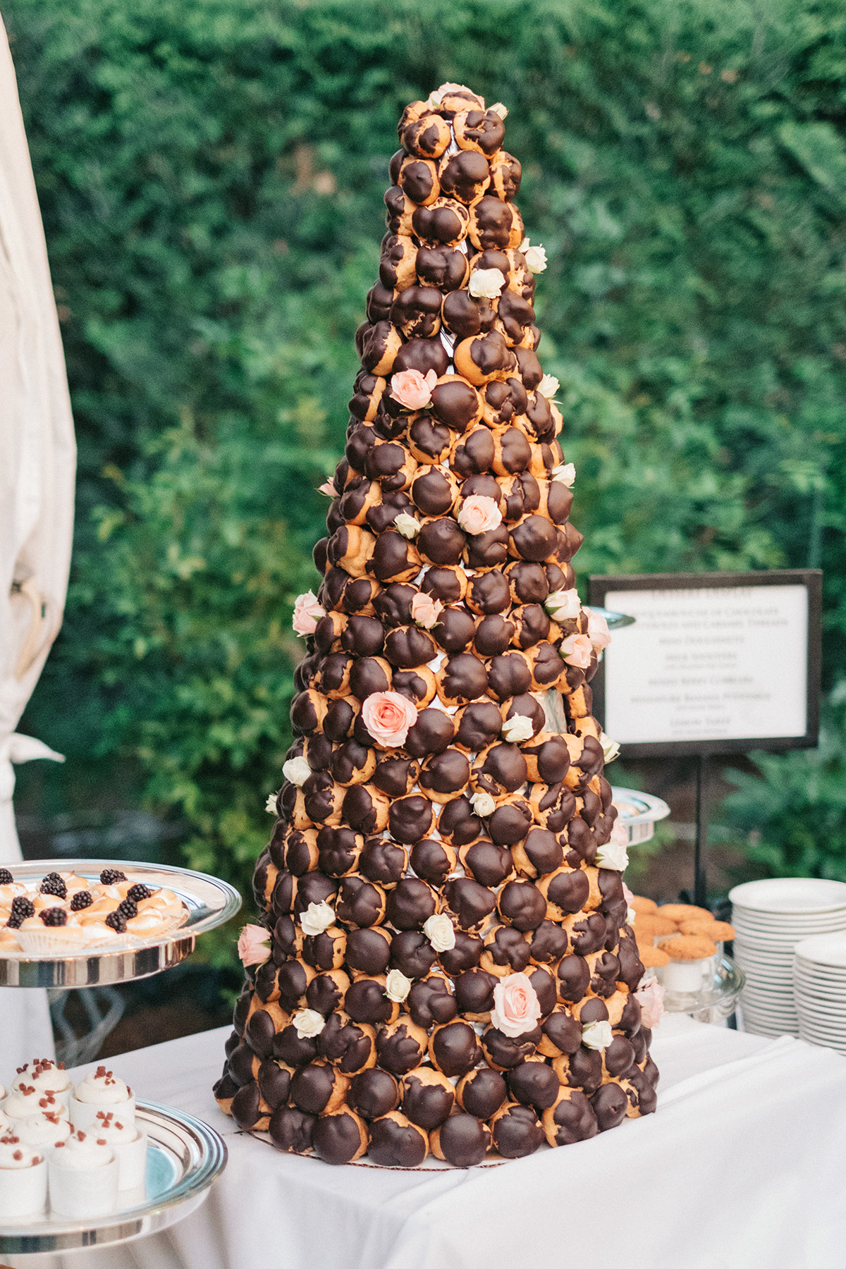 chocolate croquembouche arrangement for wedding