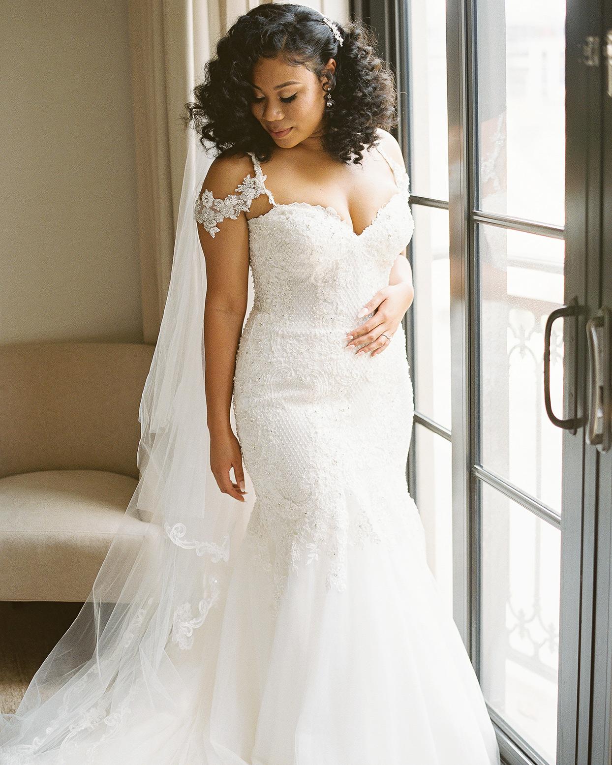 amelia justin wedding bride in white dress by window