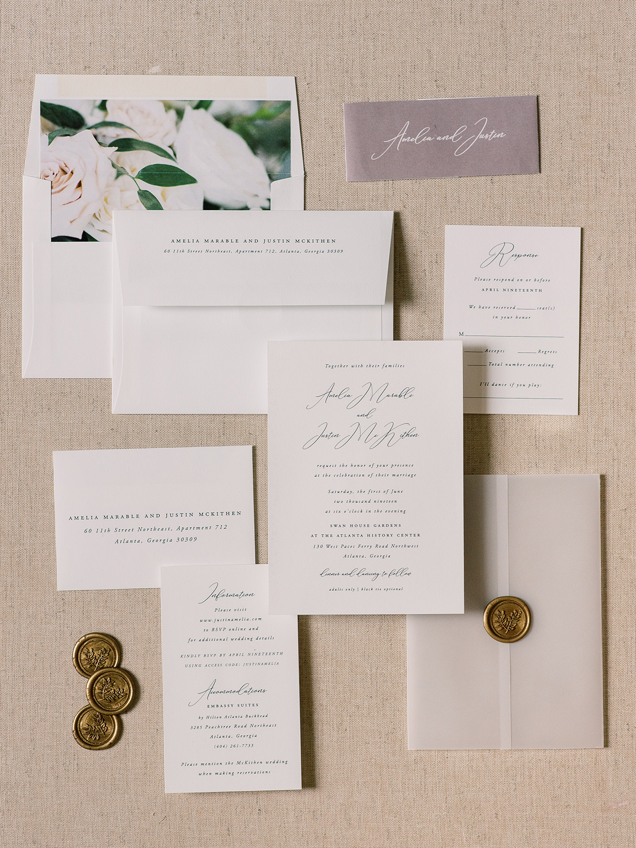 amelia justin simple wedding invites with golden seals