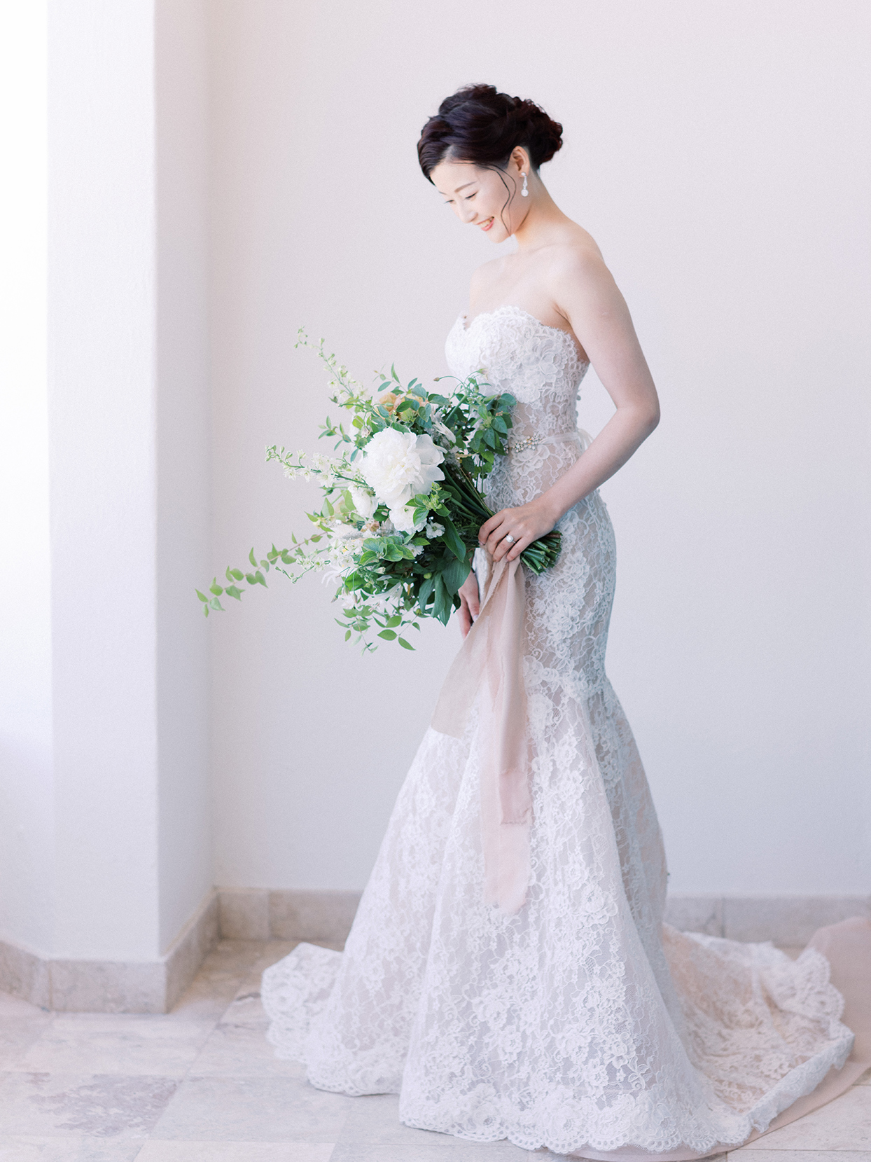 kirsten deran wedding bride in lace overlay gown
