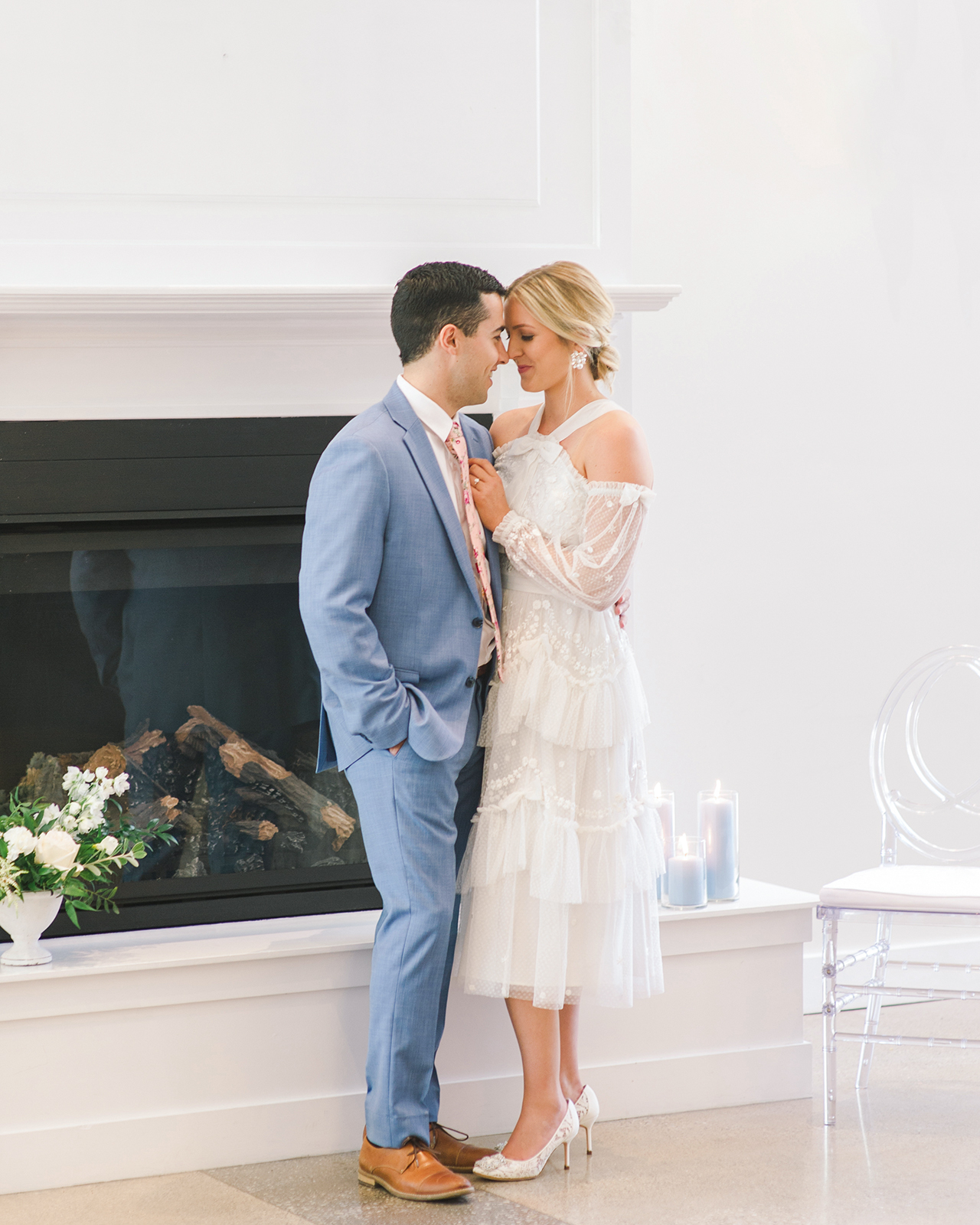 bride groom bridal shower attire fireplace setting