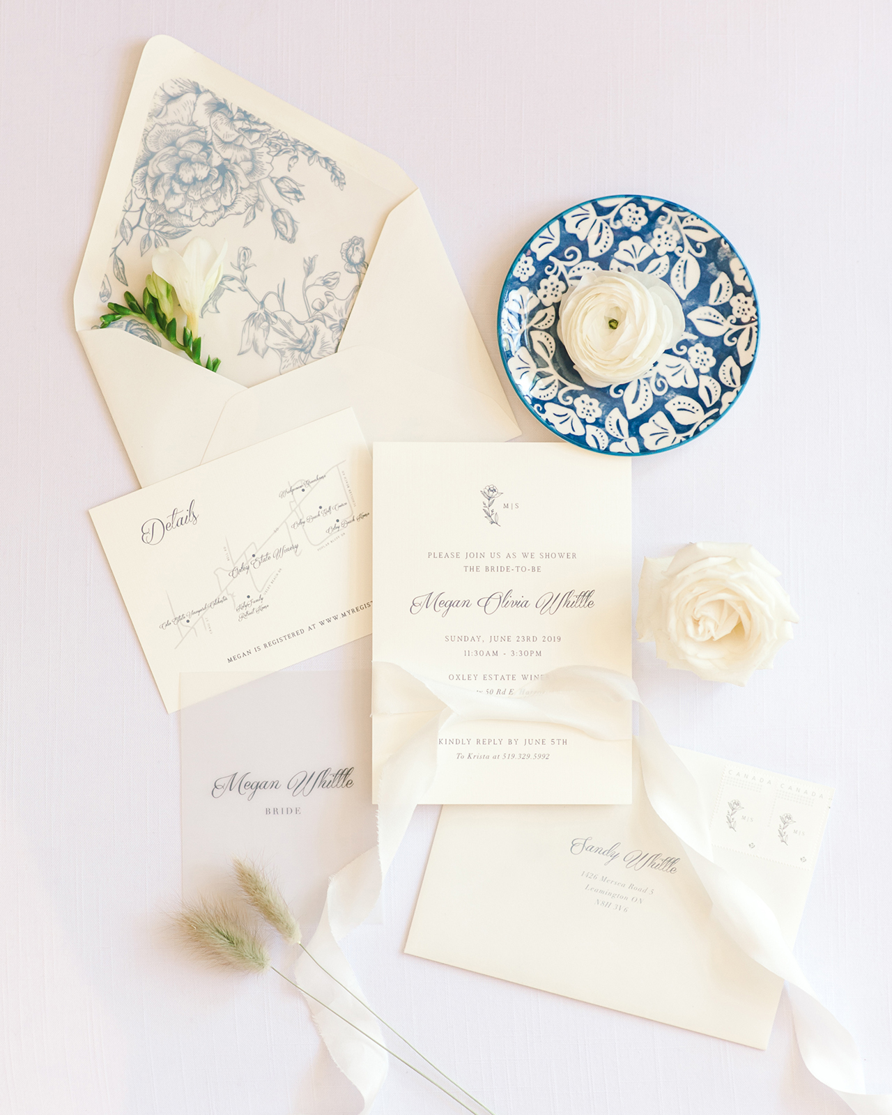 bridal show invitation blue white china pattern