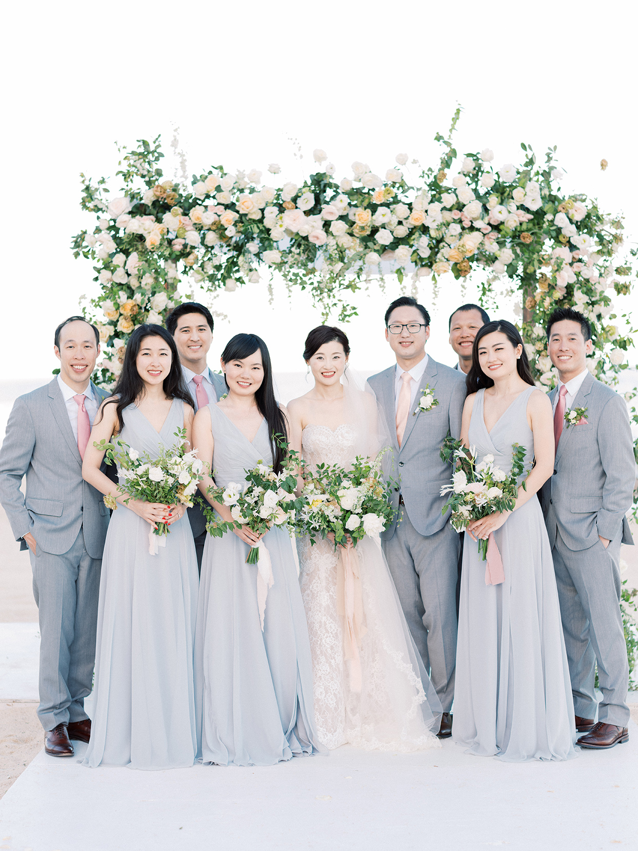 kirsten deran wedding party in gray