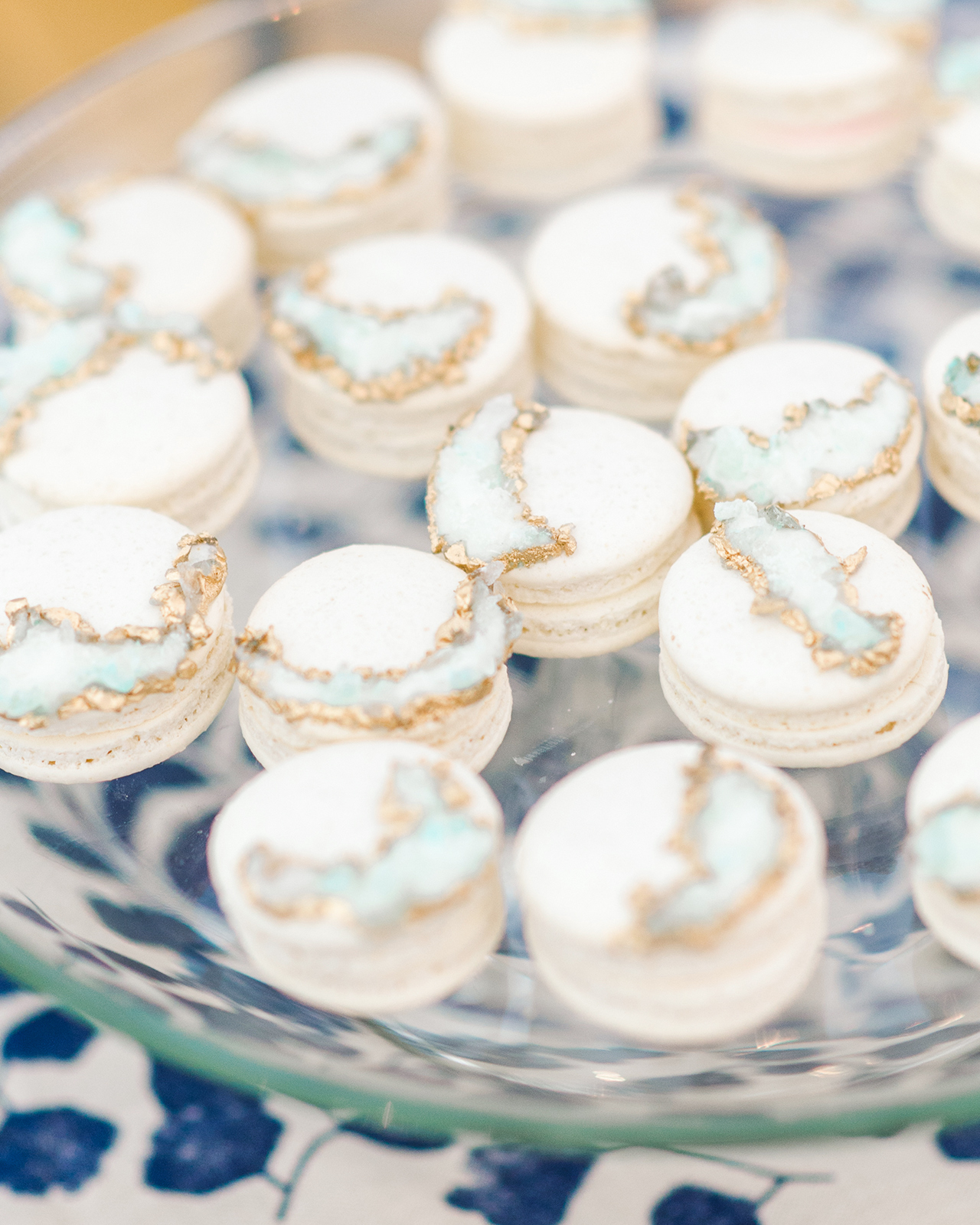blue and white geode macarons treats