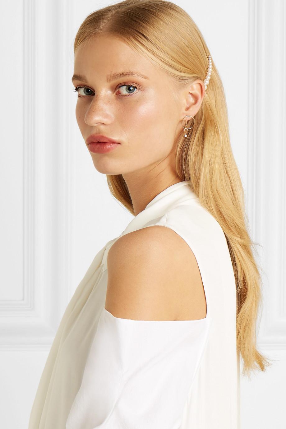 """Sophie Bille Brahe """"Croissant Grace"""" 10-Karat Gold Pearl Hair Clip"""