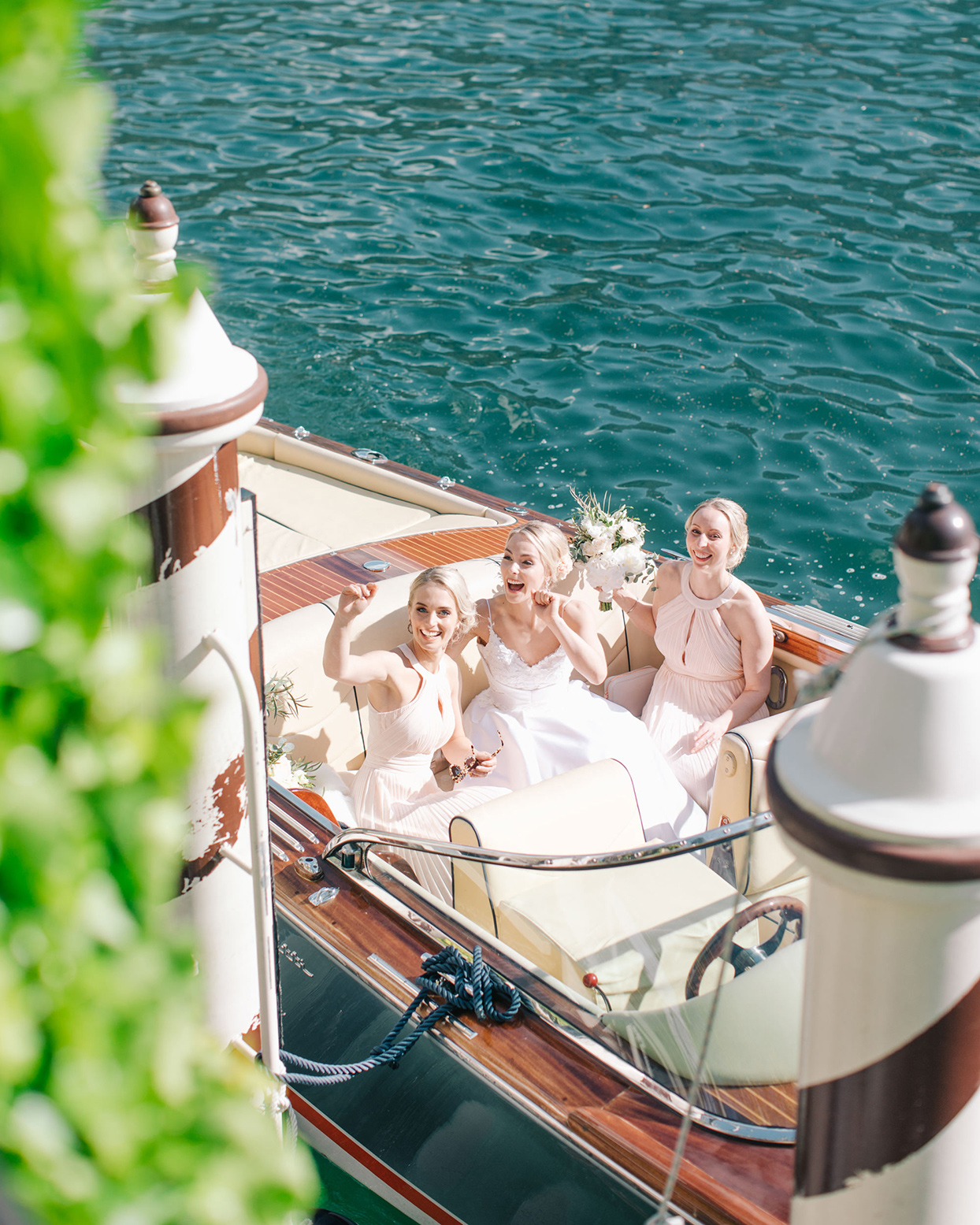 kiira arthur wedding bridesmaids in boat
