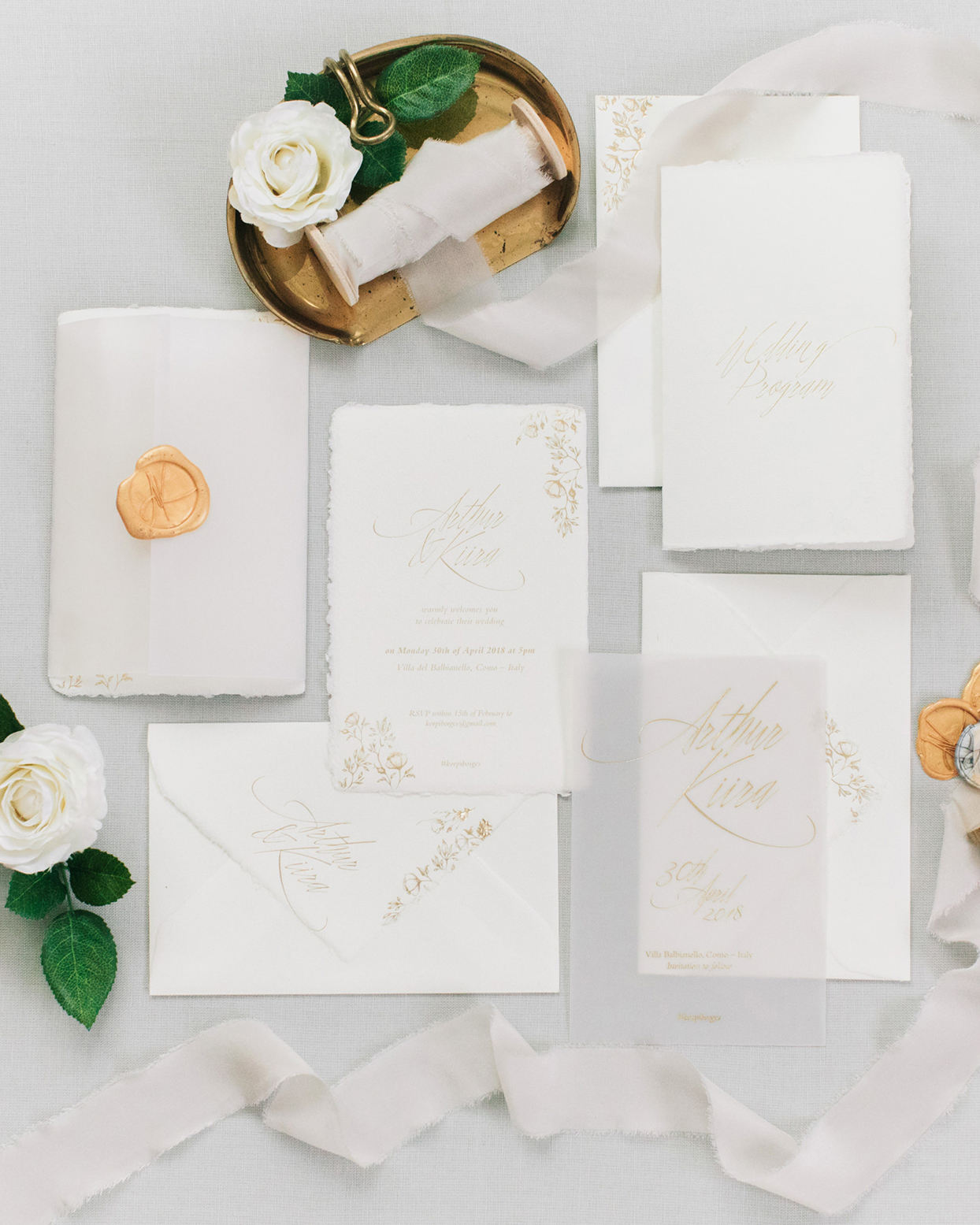 kiira arthur white and gold wedding invitations