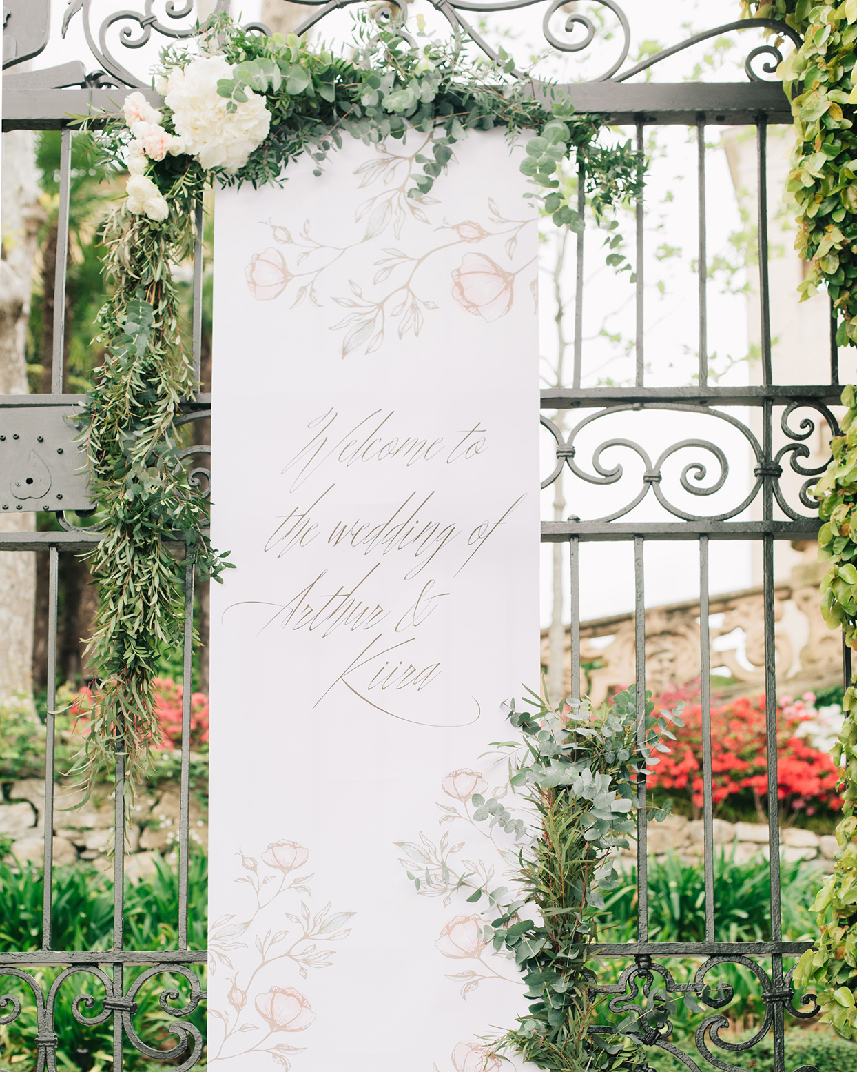 kiira arthur wedding welcome sign