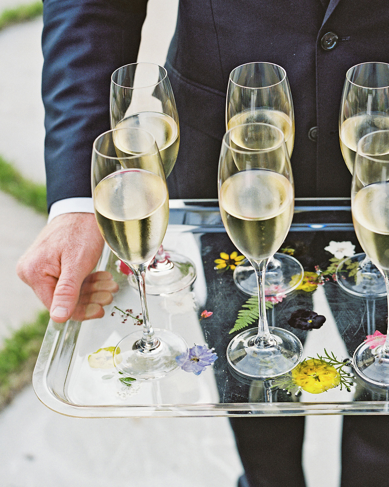 champagne wedding ideas champagne served on tray