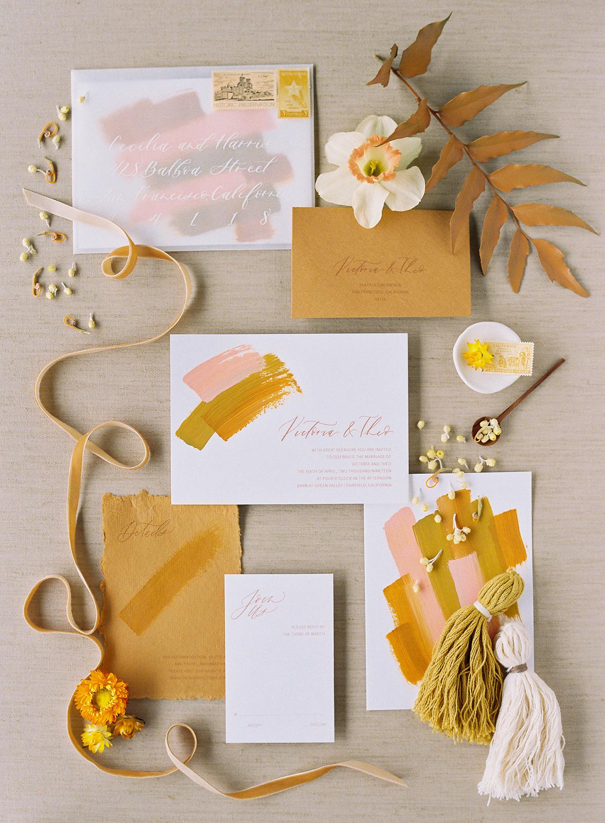 abstract arsty mustard fall wedding invitations