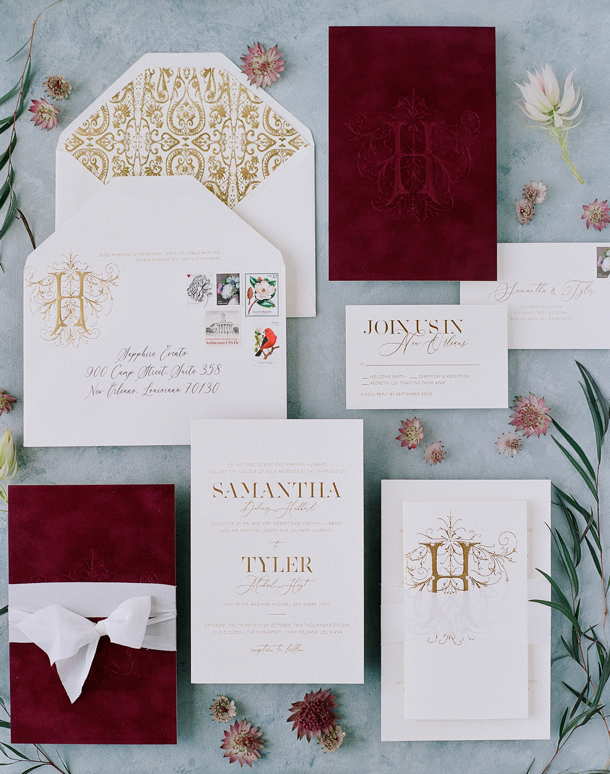 burgundy and gold fall wedding invitations