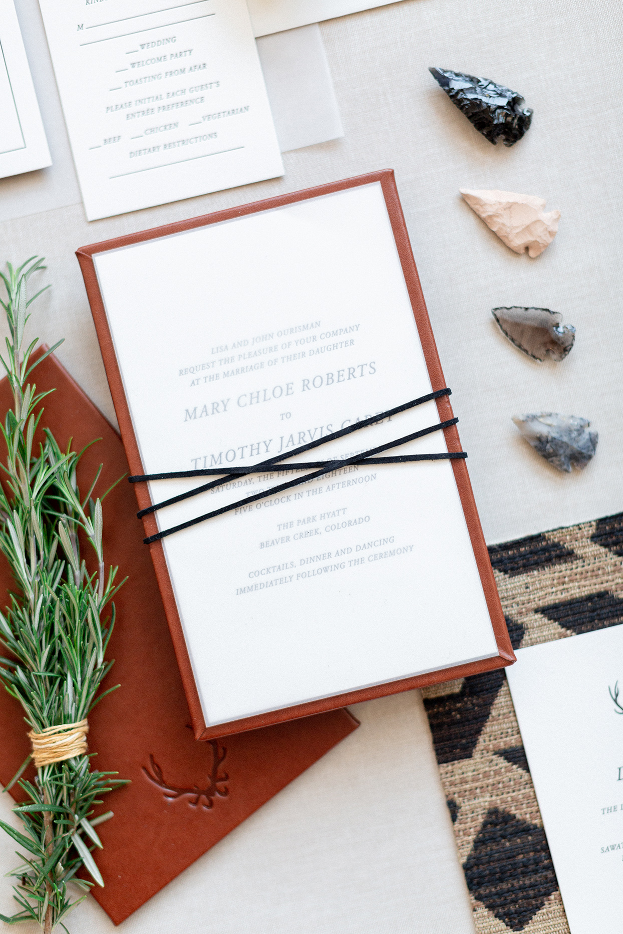 embossed leather and antler fall wedding invitations