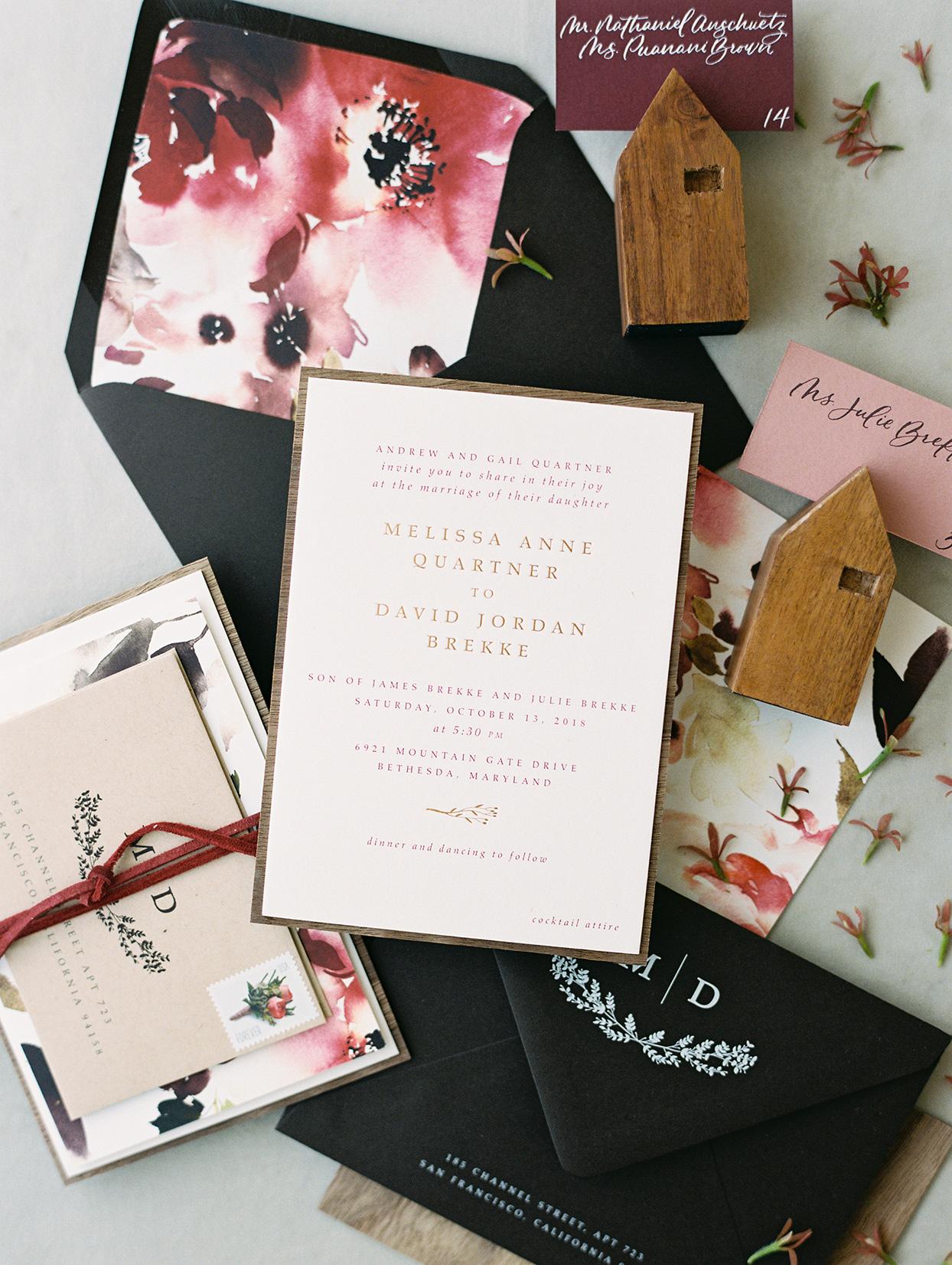 magenta and raspberry fall wedding invitations