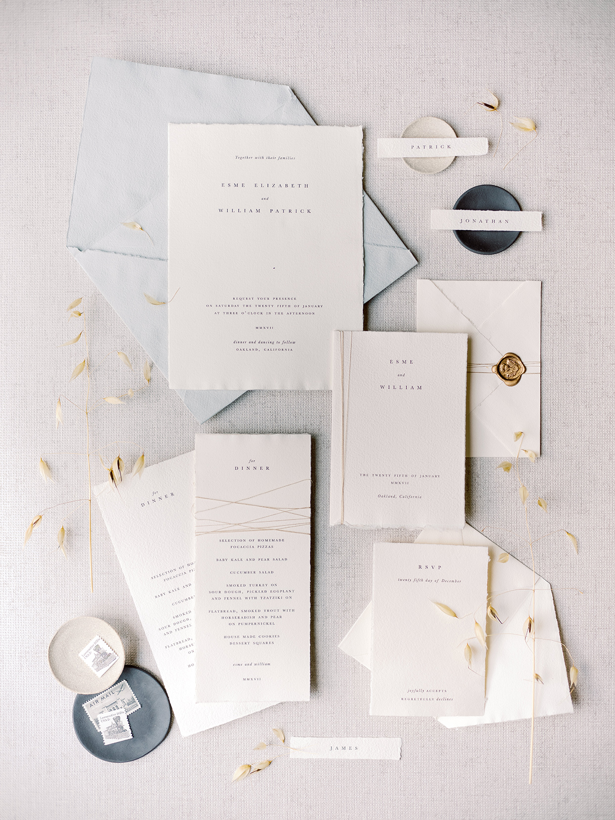 minimalist fall wedding invitations