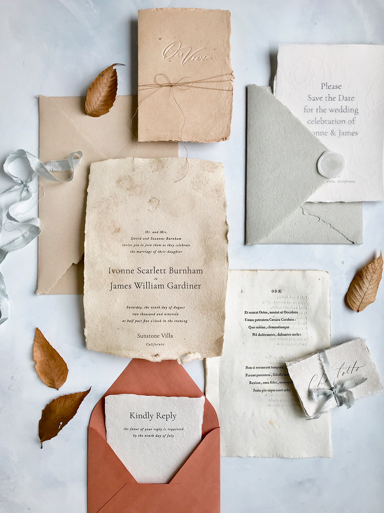hand dyed fall wedding invitations