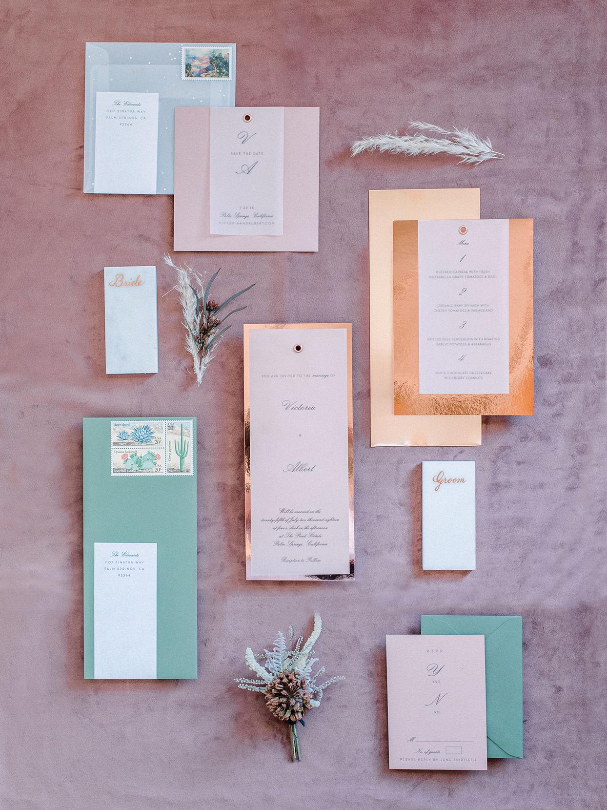 metallic pink and green fall wedding invitations