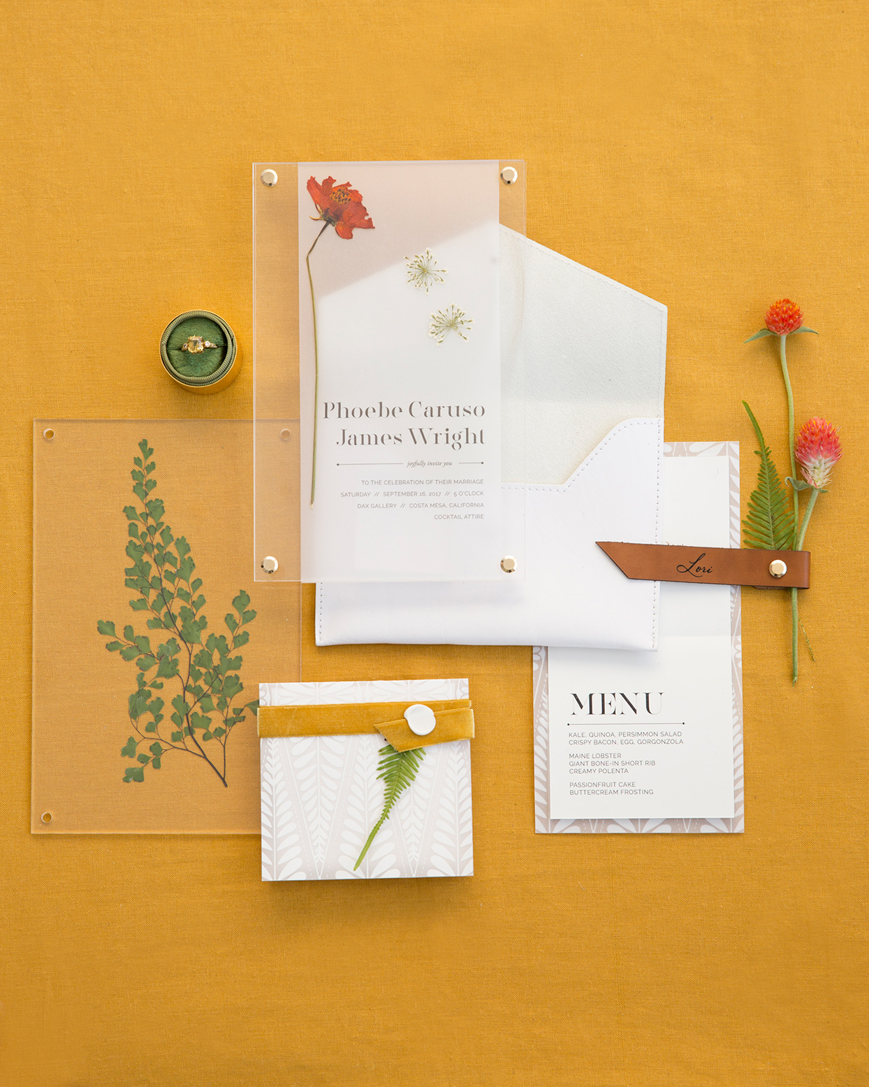 white, mustard and greenery fall wedding invitations