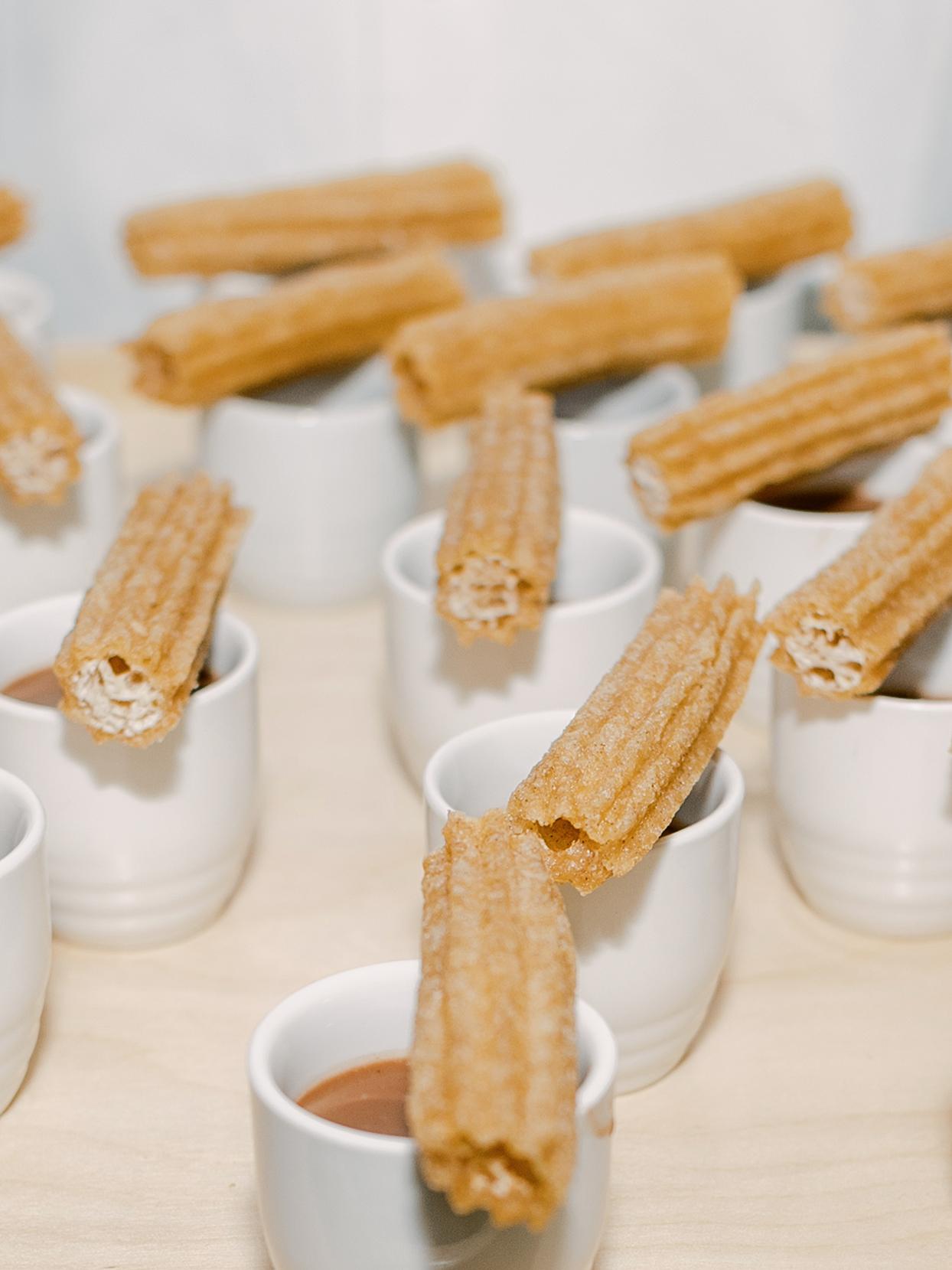 sofia alberto wedding dessert churros and hot chocolate