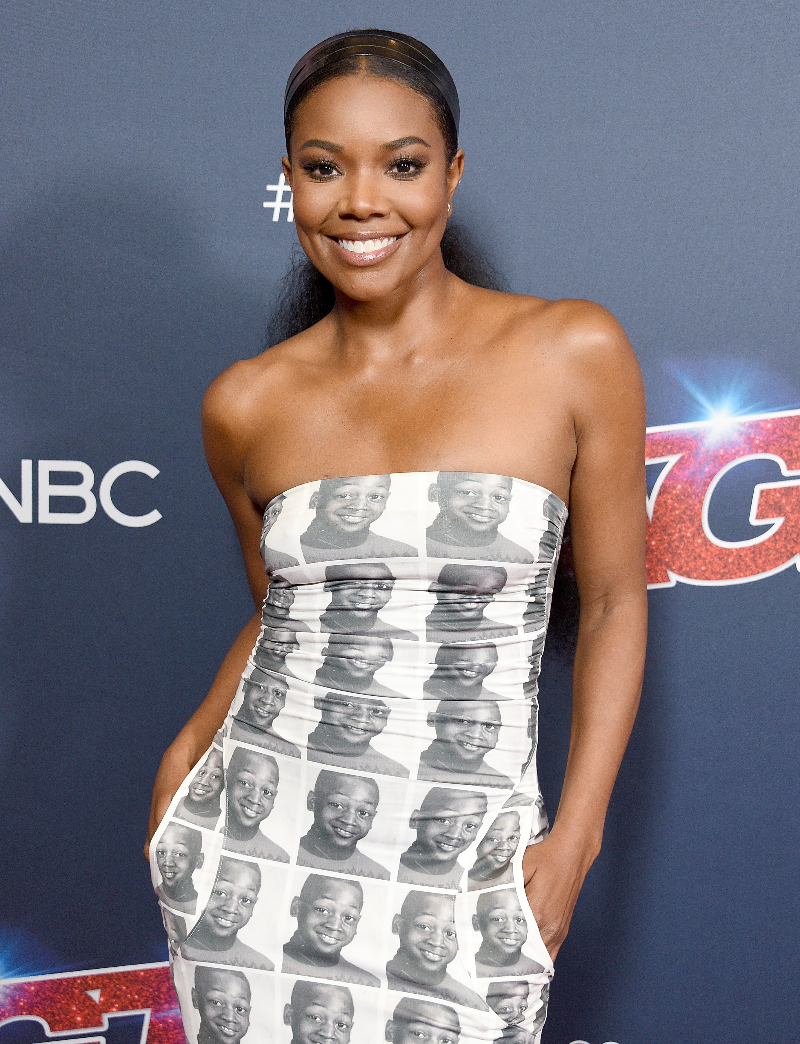 Gabrielle Union Wore a Dress with Her Husband Dwyane Wade's Face All Over It