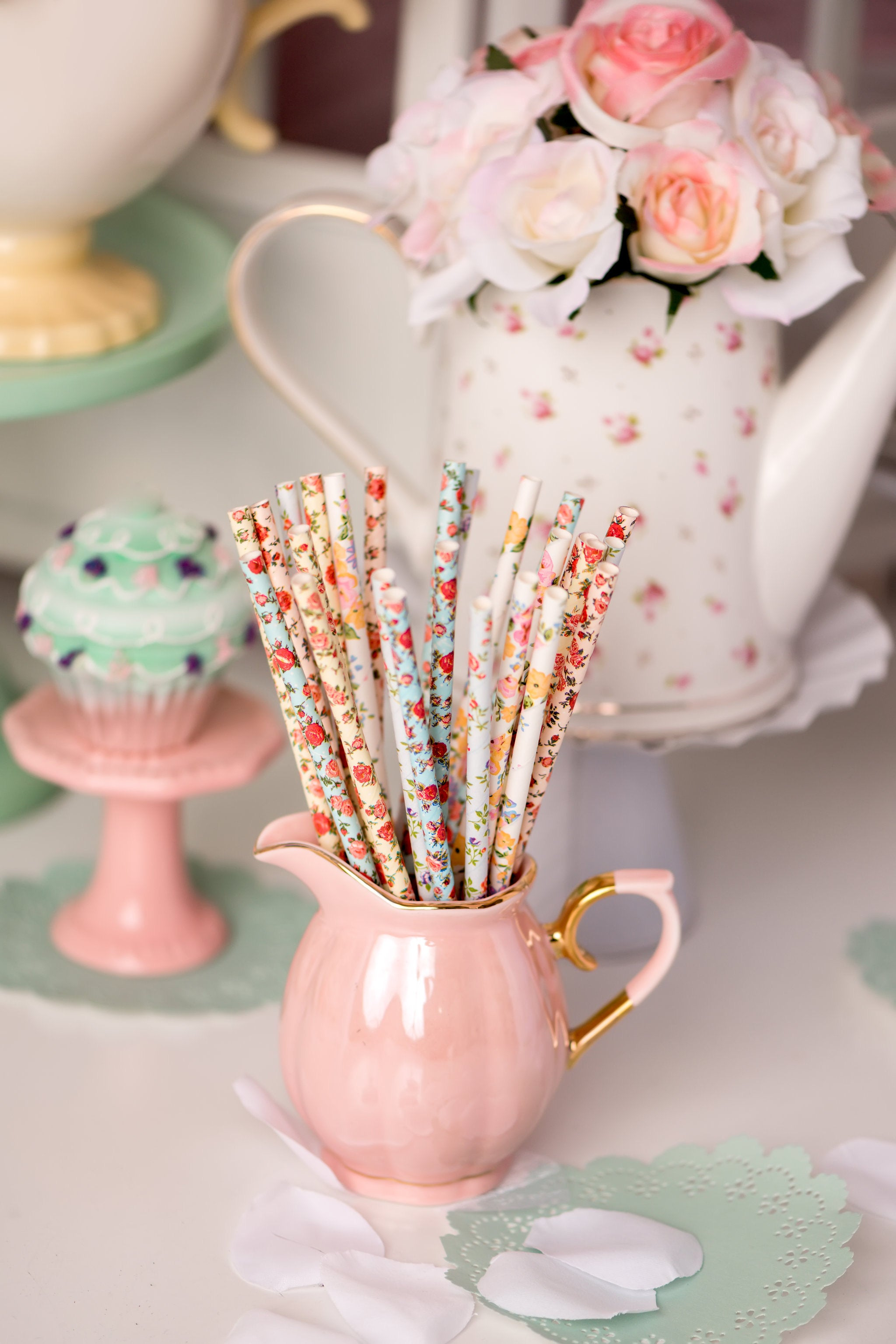 paper straws for bridal shower tea party