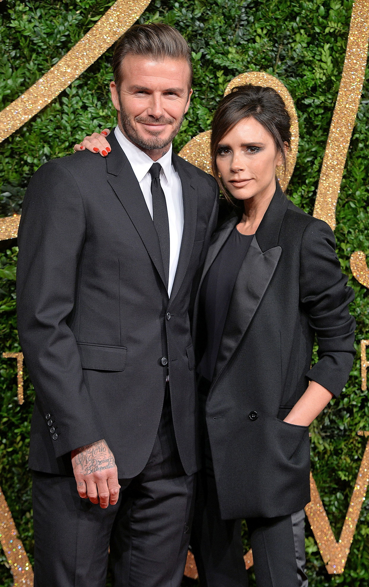 David and Victoria Beckham couple in black