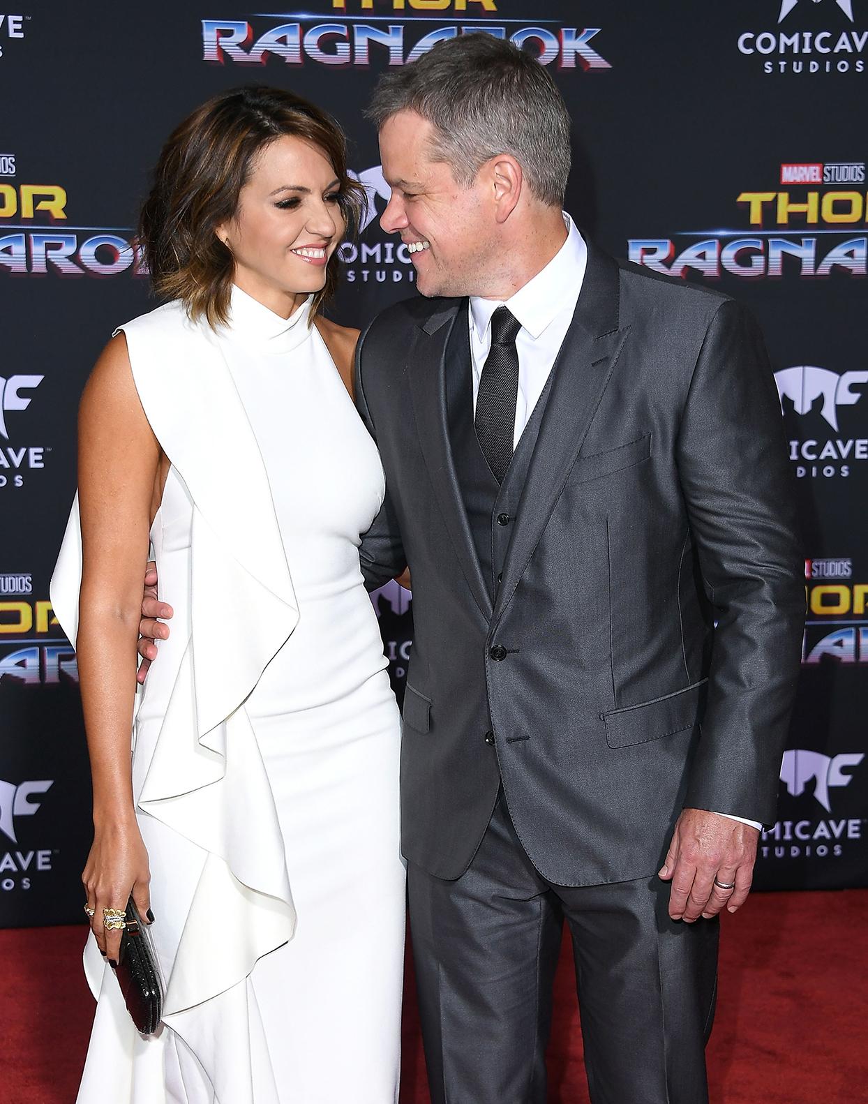 Matt Damon and Luciana Barroso couple red carpet