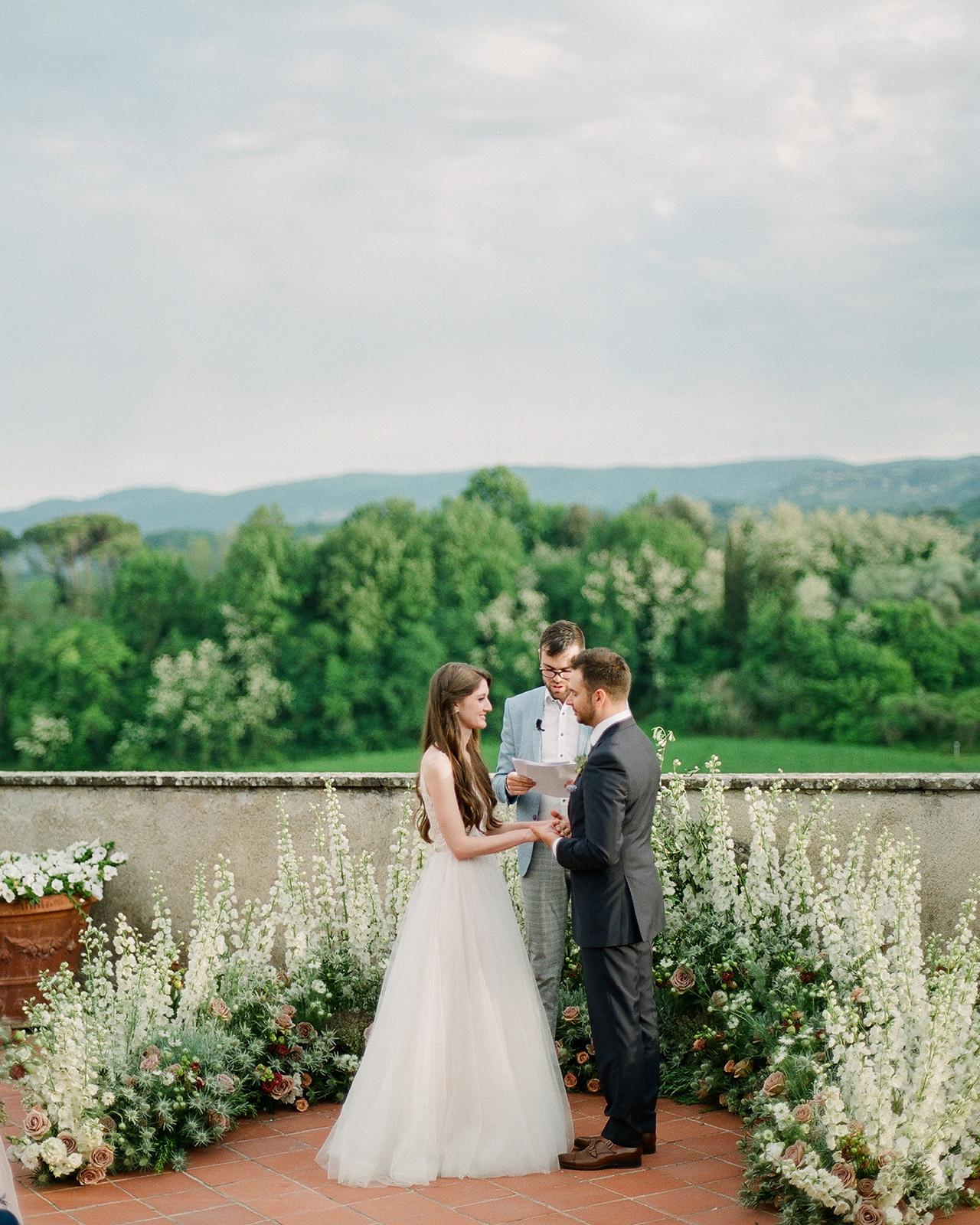 outdoor wedding ceremony vow exchange