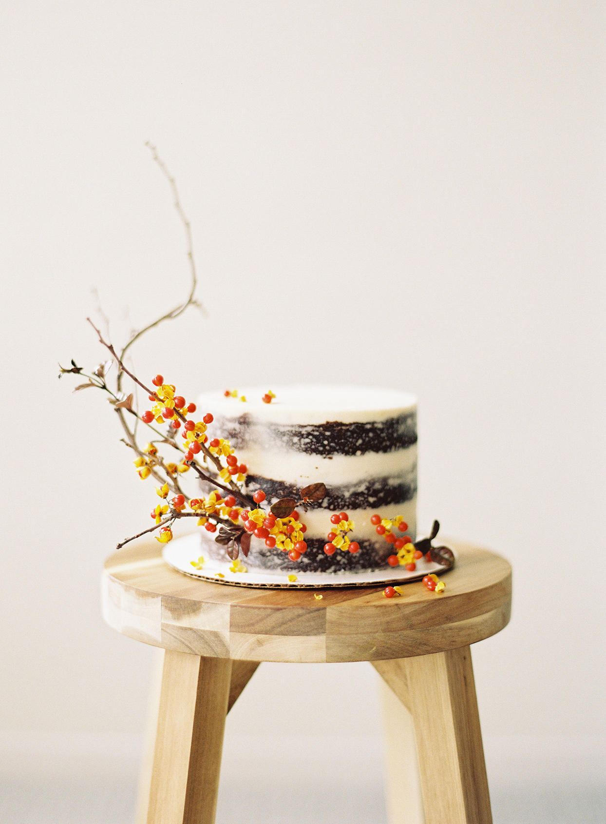 berried twig branch on naked cake