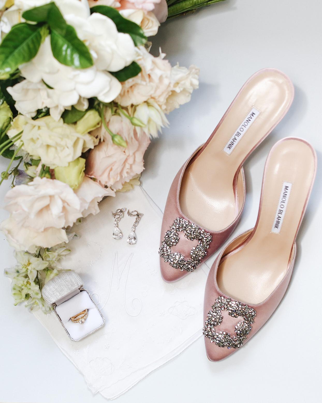 pia davide wedding bride accessories pink shoes