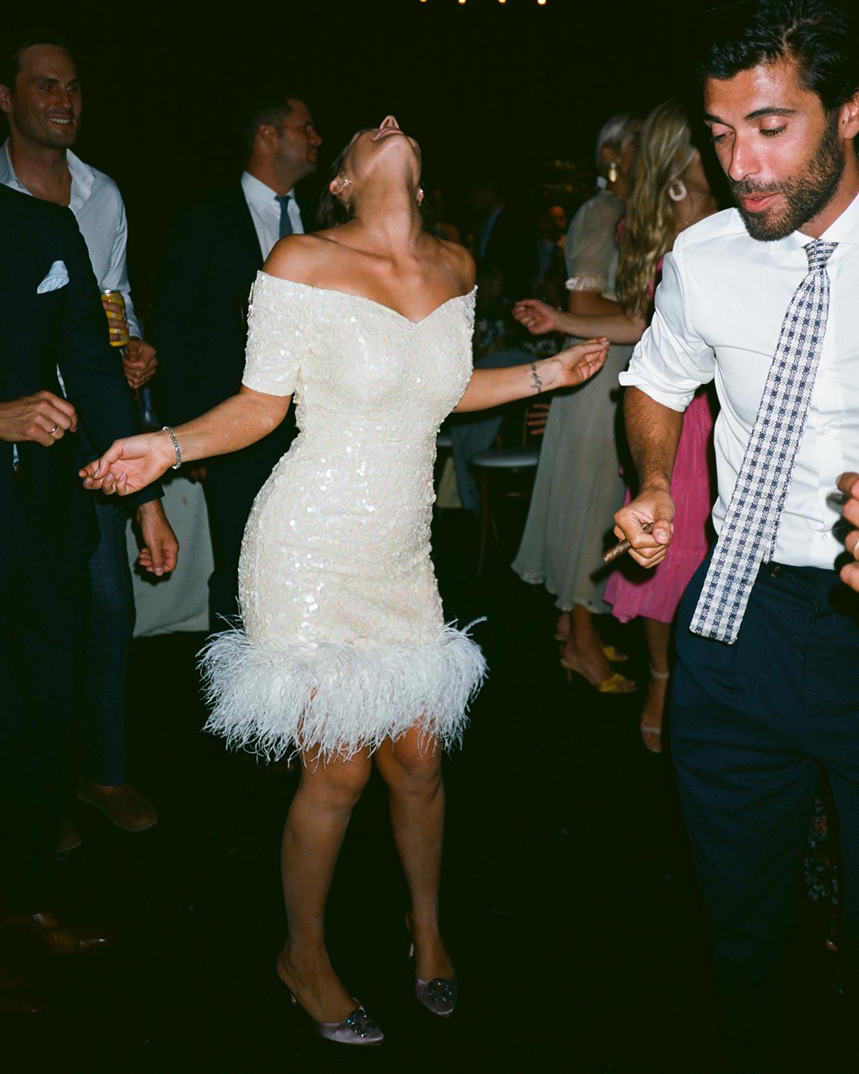 pia davide wedding bride's short reception dress