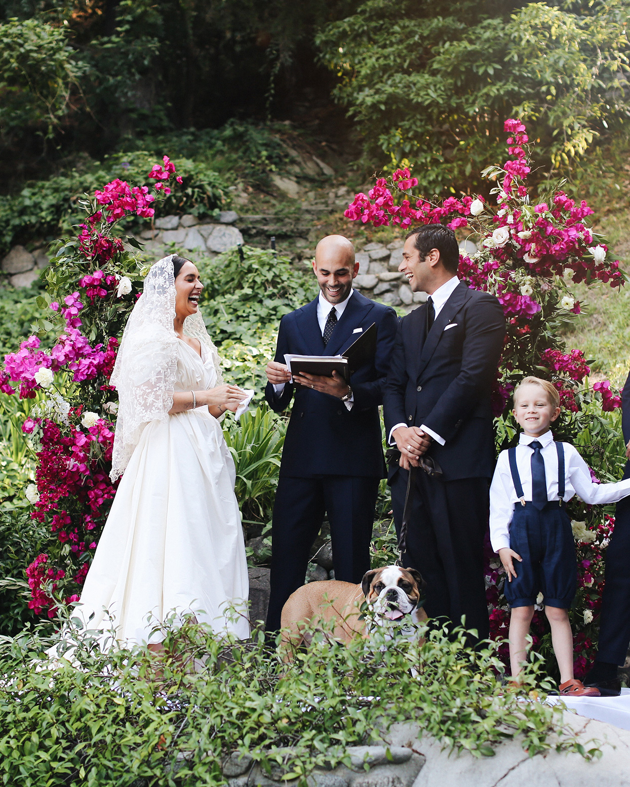 pia davide wedding ceremony with officiant and dog