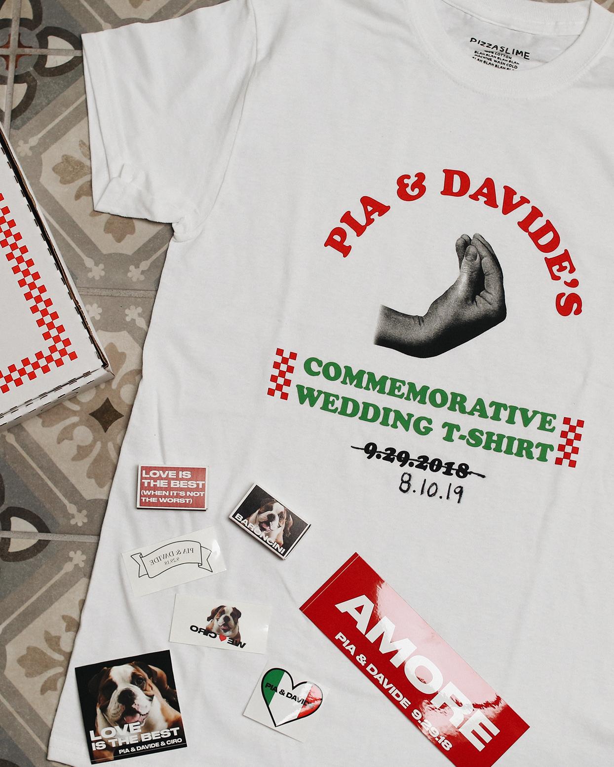 pia davide commemorative wedding shirt and favors
