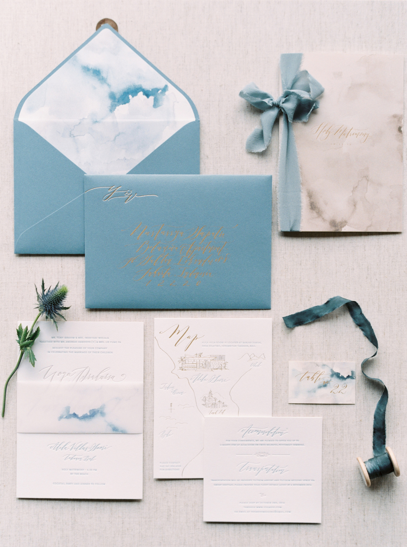 blue wave watercolor wedding invites