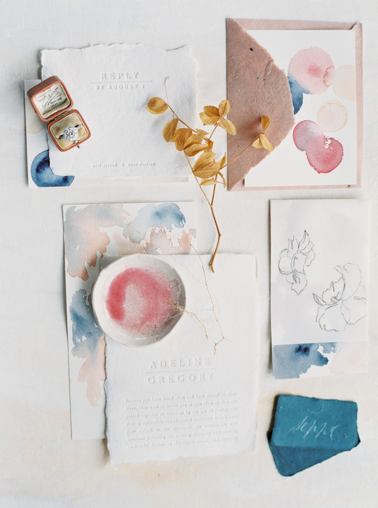 modern splashes of paint watercolor wedding invites