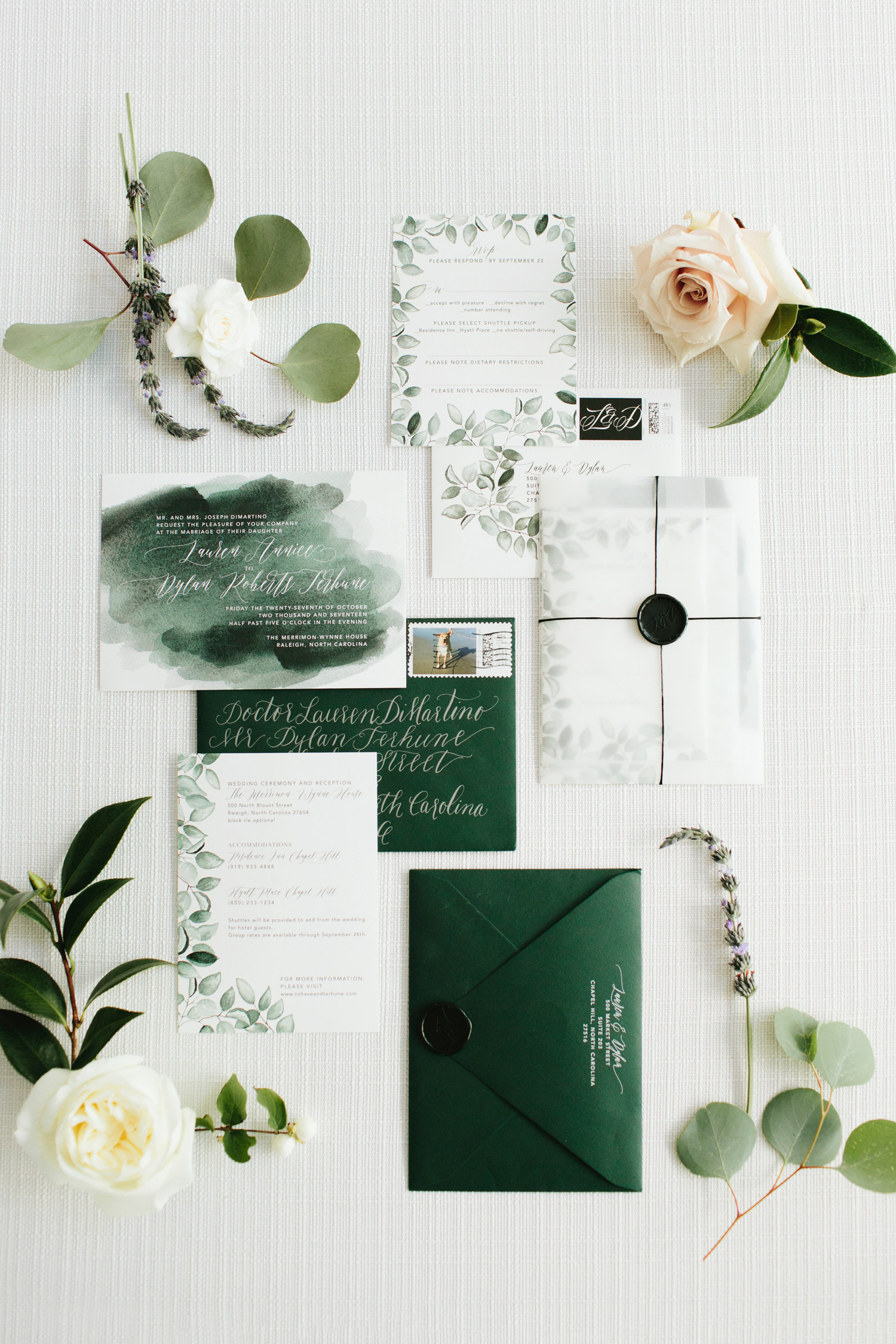 ombré green leaf frame watercolor wedding invites