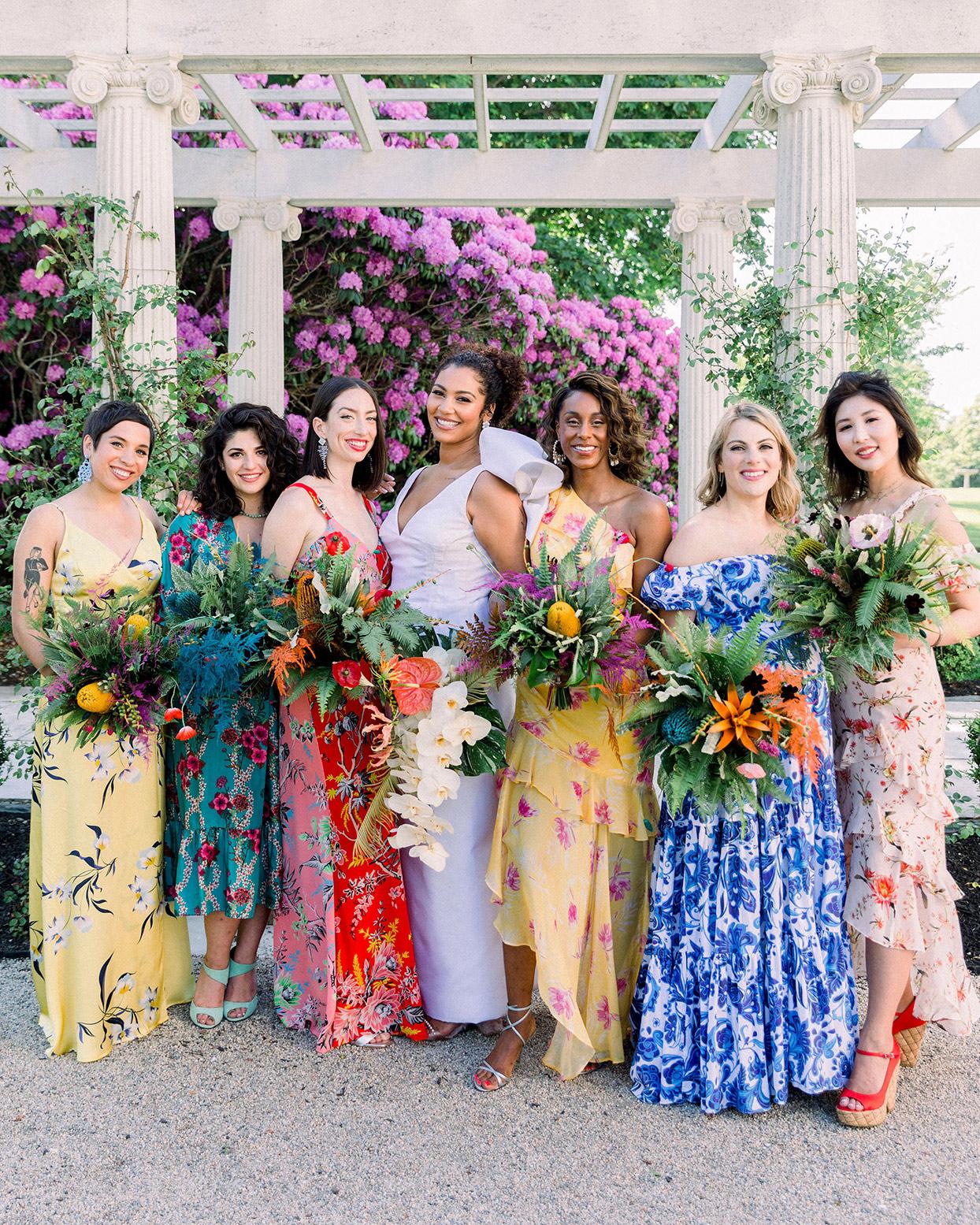 dalila elliot wedding bridesmaids in floral patterns