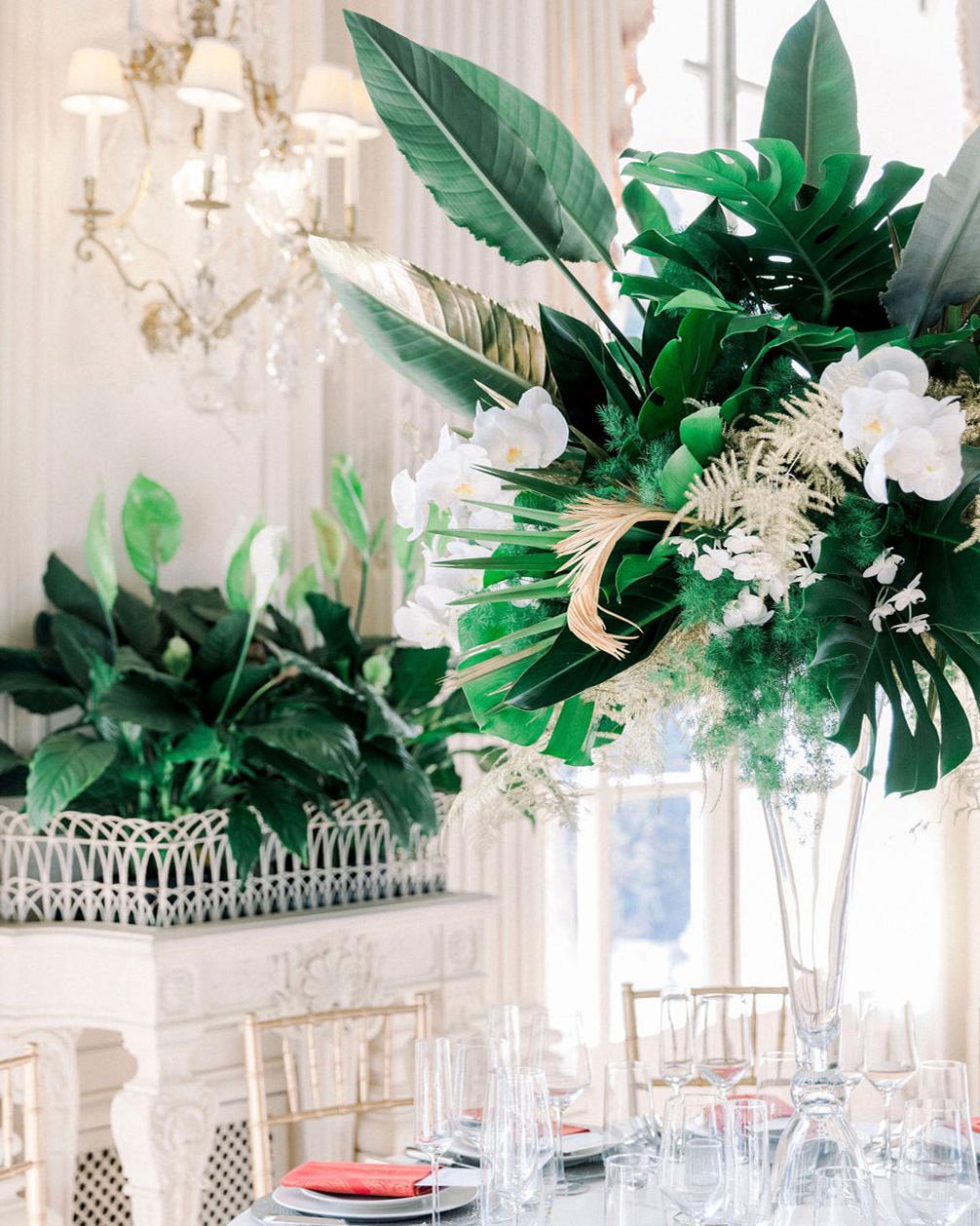 dalila elliot tropical green wedding centerpiece
