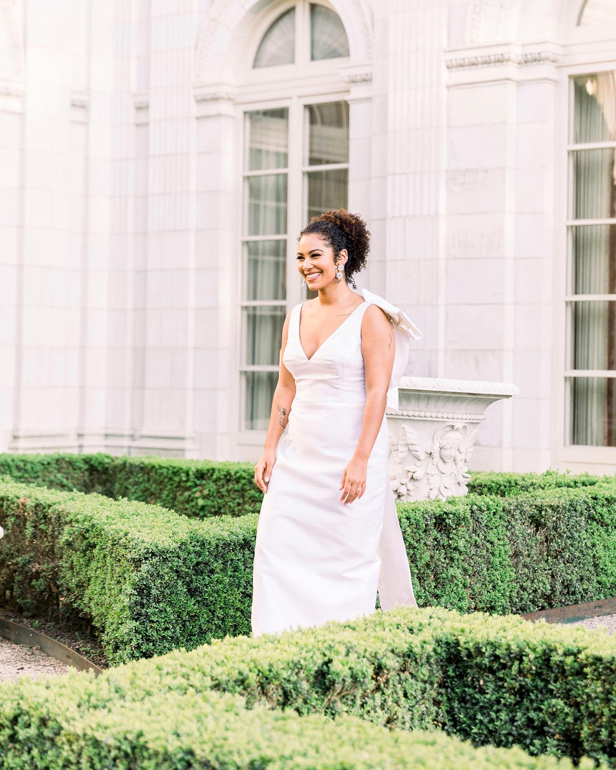 dalila elliot wedding bride dress in garden