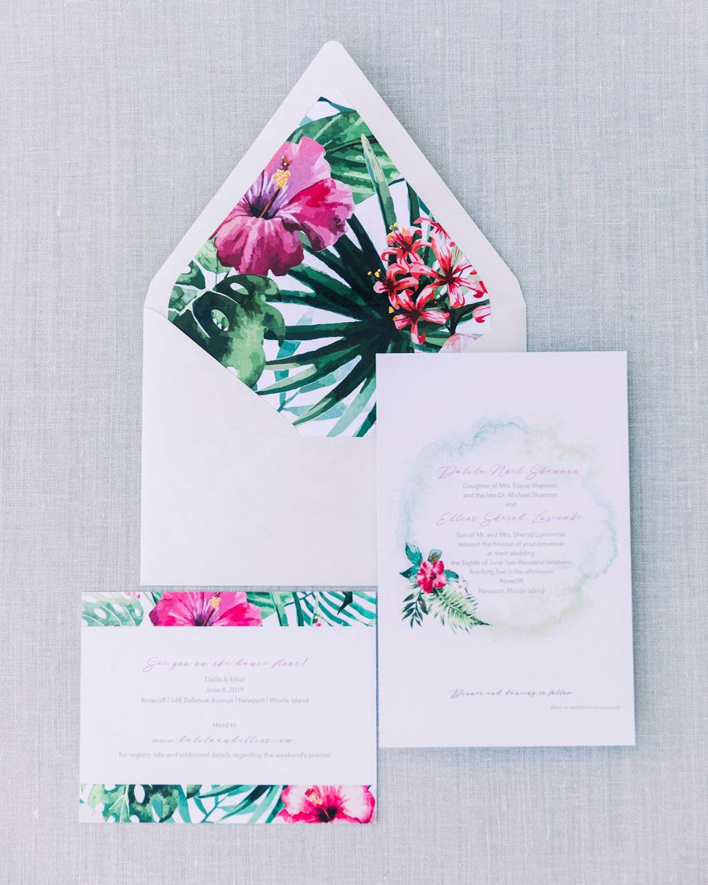dalila elliot tropical and white wedding invitations