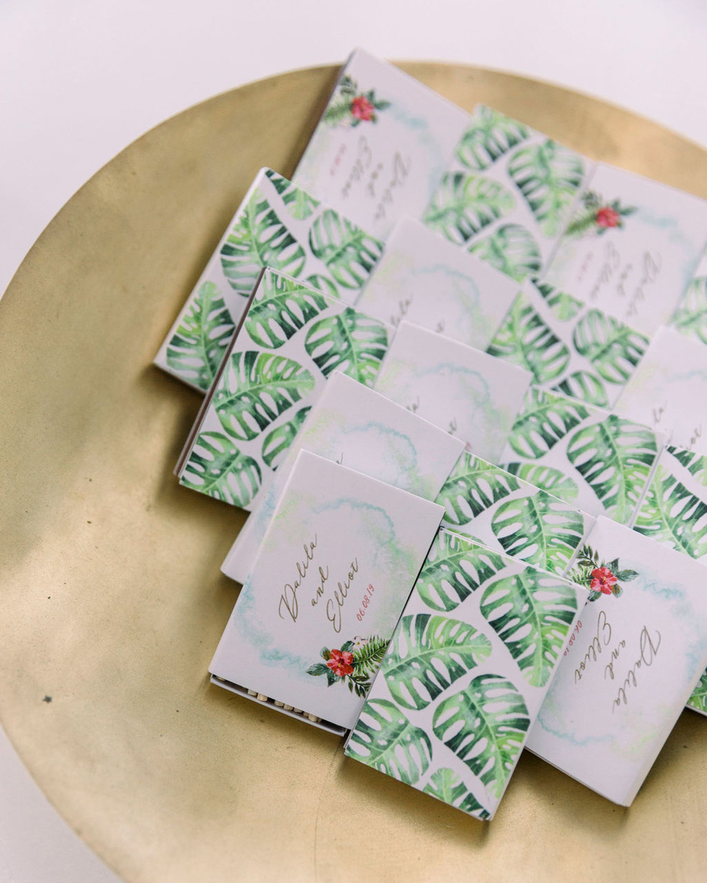 dalila elliot wedding programs with tropical designs