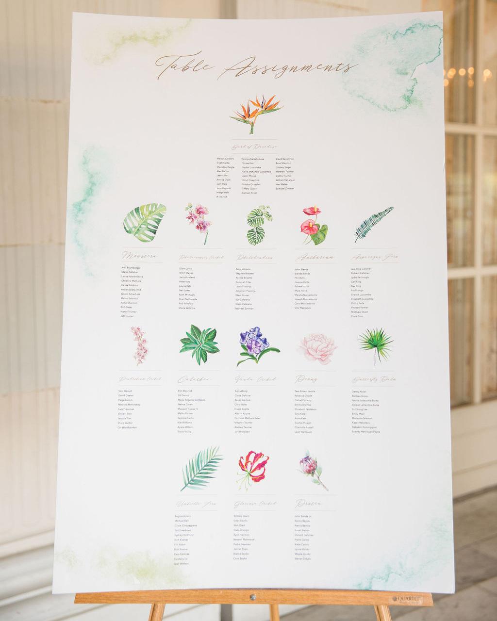 dalila elliot wedding floral seating chart