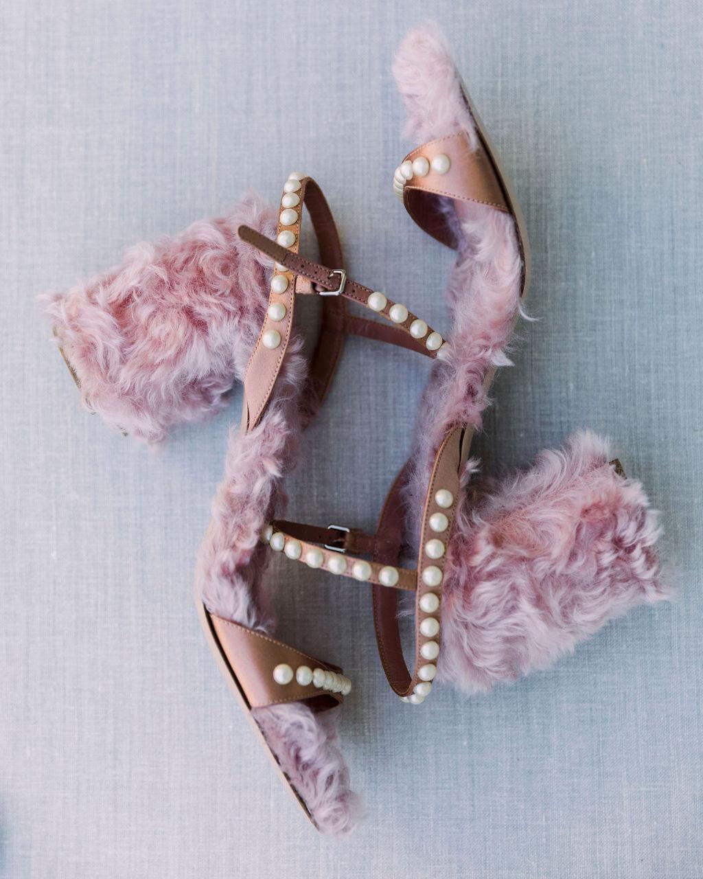 dalila elliot wedding furry bride's shoes