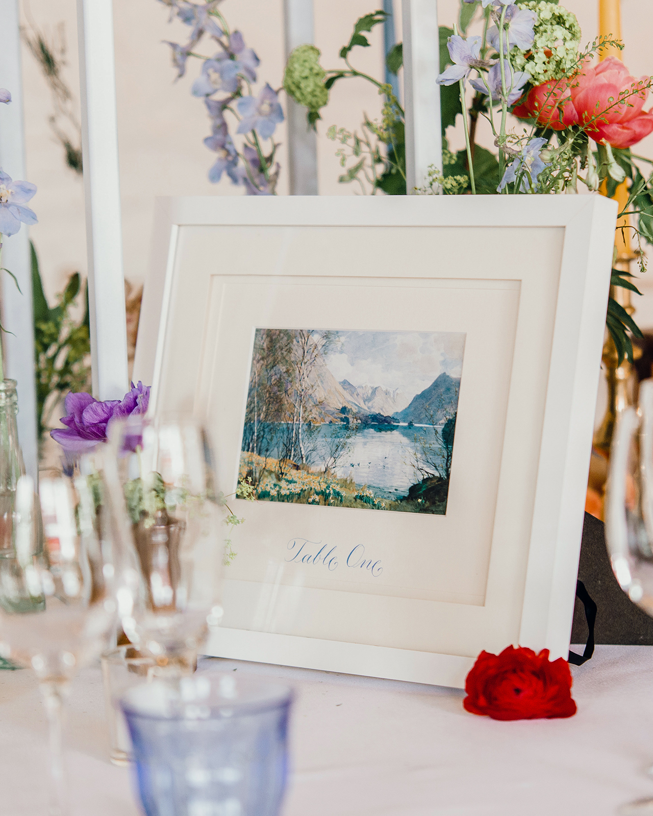 framed water color paintings table numbers
