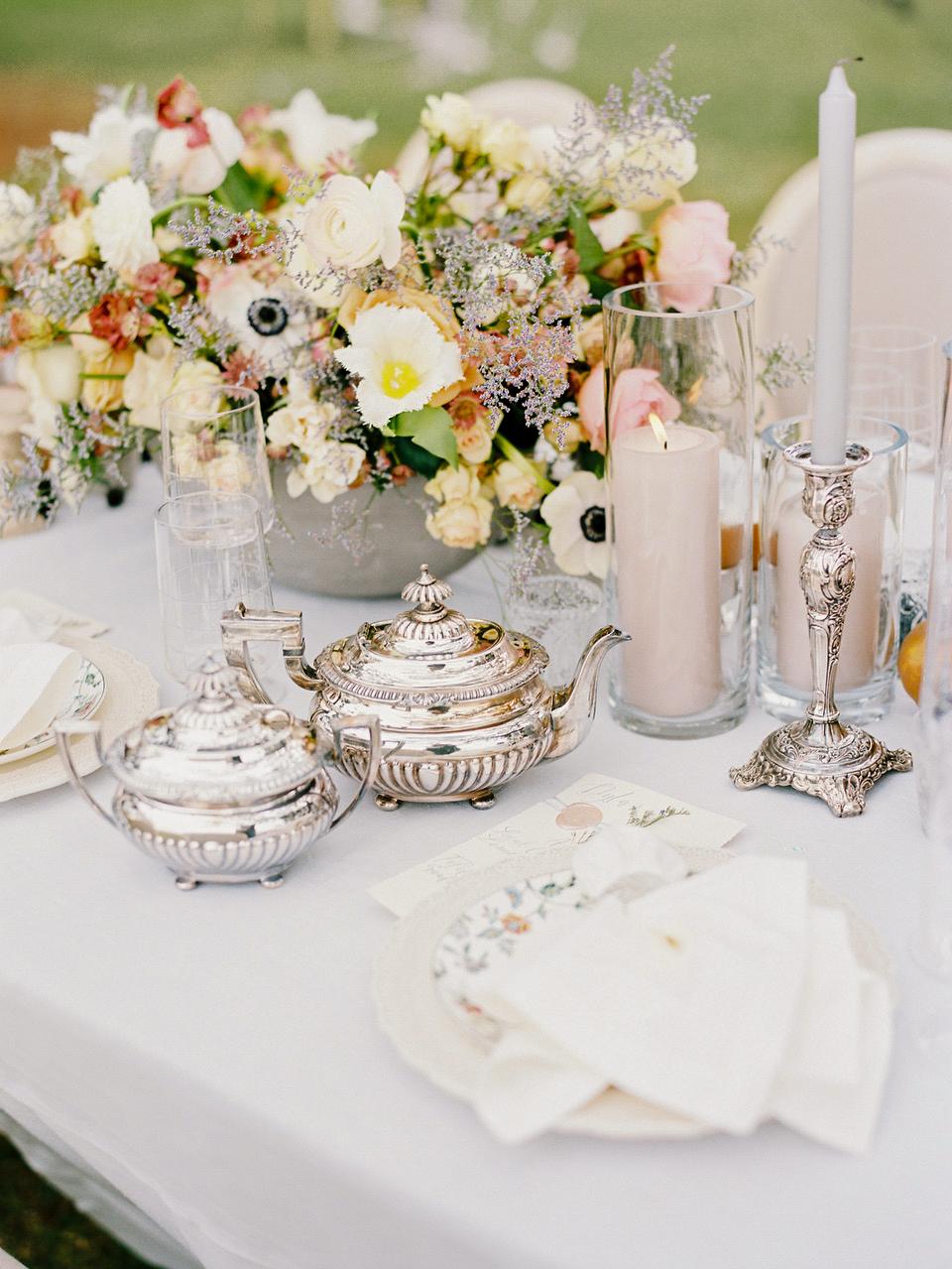 tea party floral brunch table setting