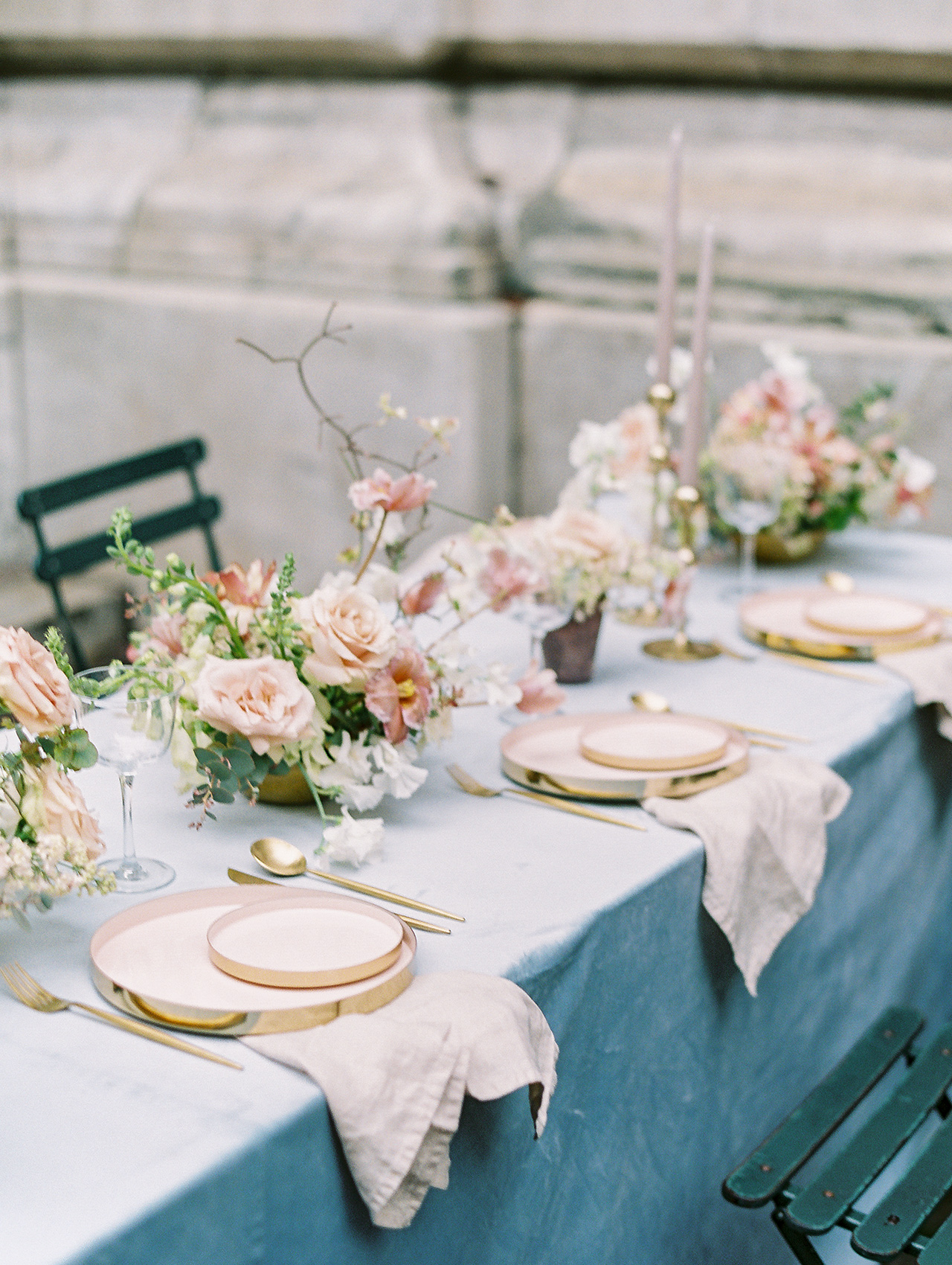 blue table cloth floral centerpiece table setting