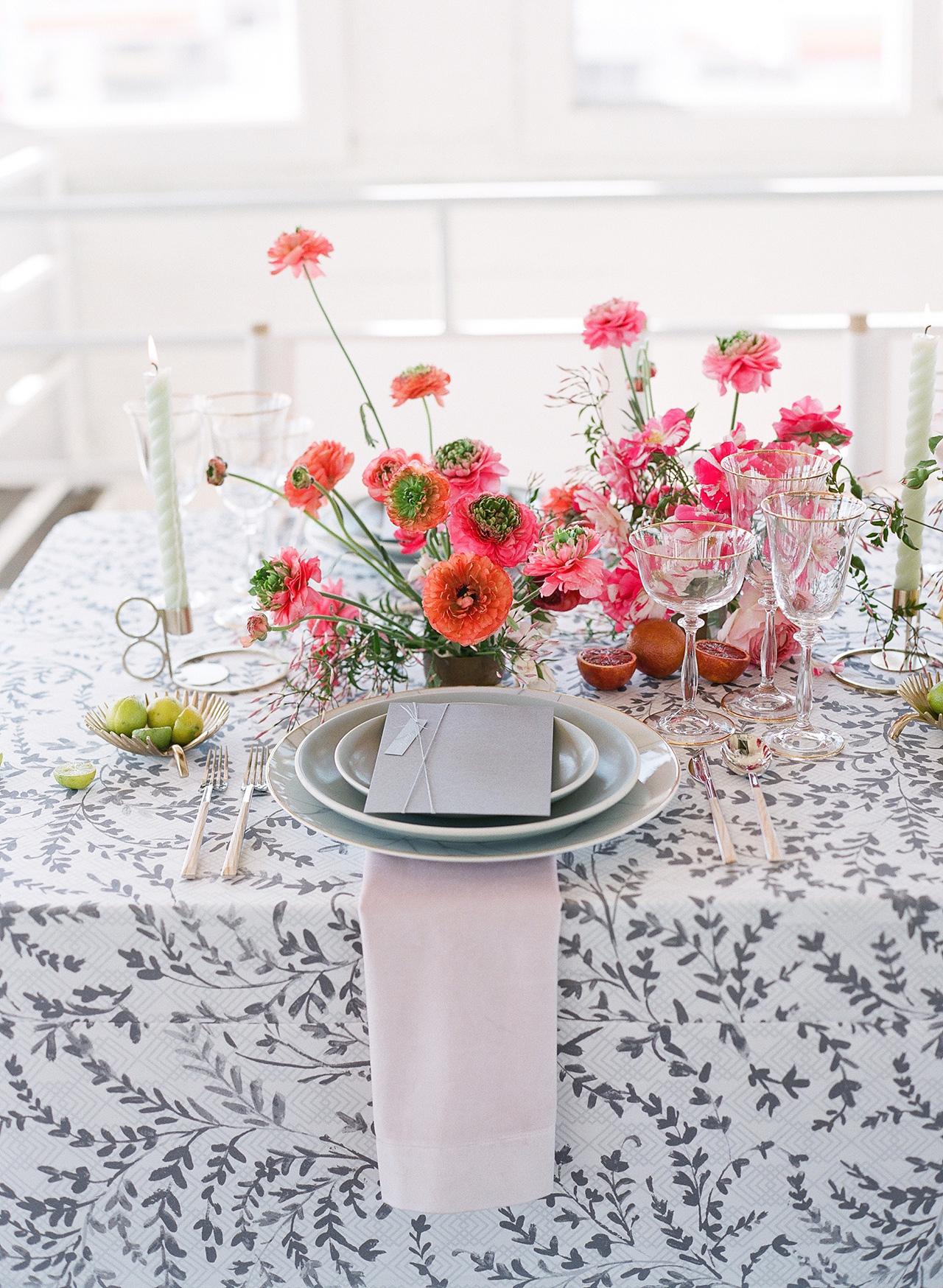 pink orange floral centerpiece creative tablespace
