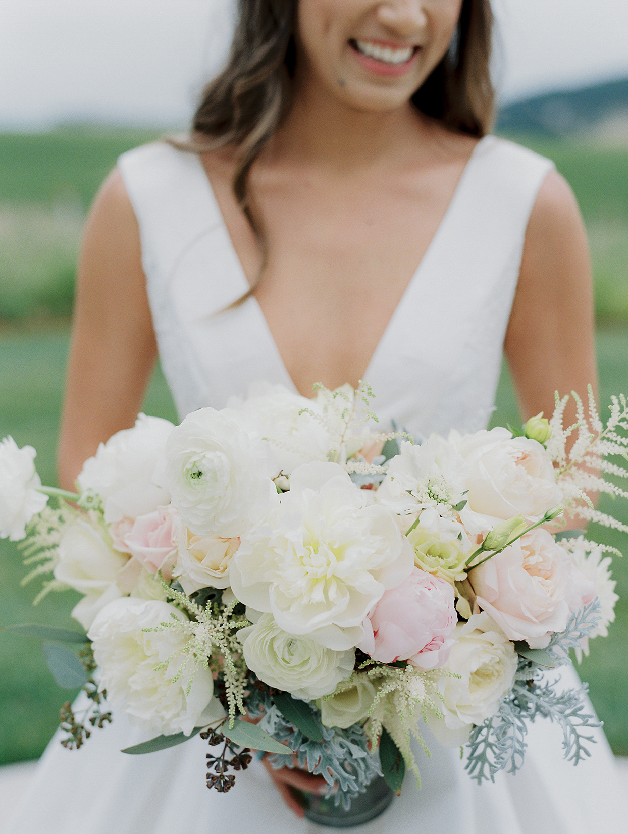 mika steve bride's white and pink wedding bouquet