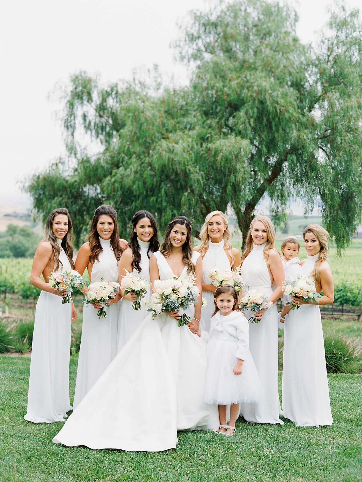 mika steve bride and bridesmaids in white