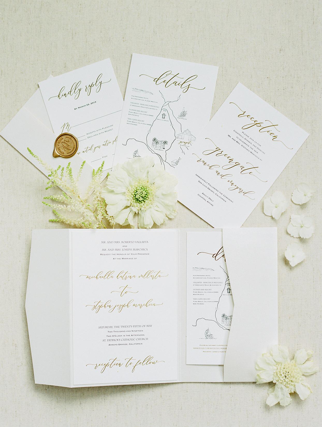 mike steve simple elegant white wedding invitations