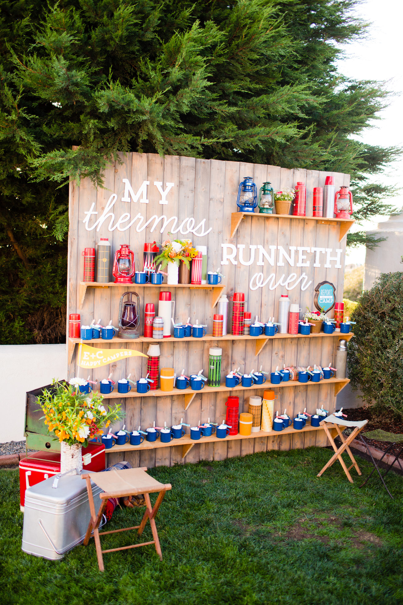 my thermos runneth over vintage thermos wood fence shelves